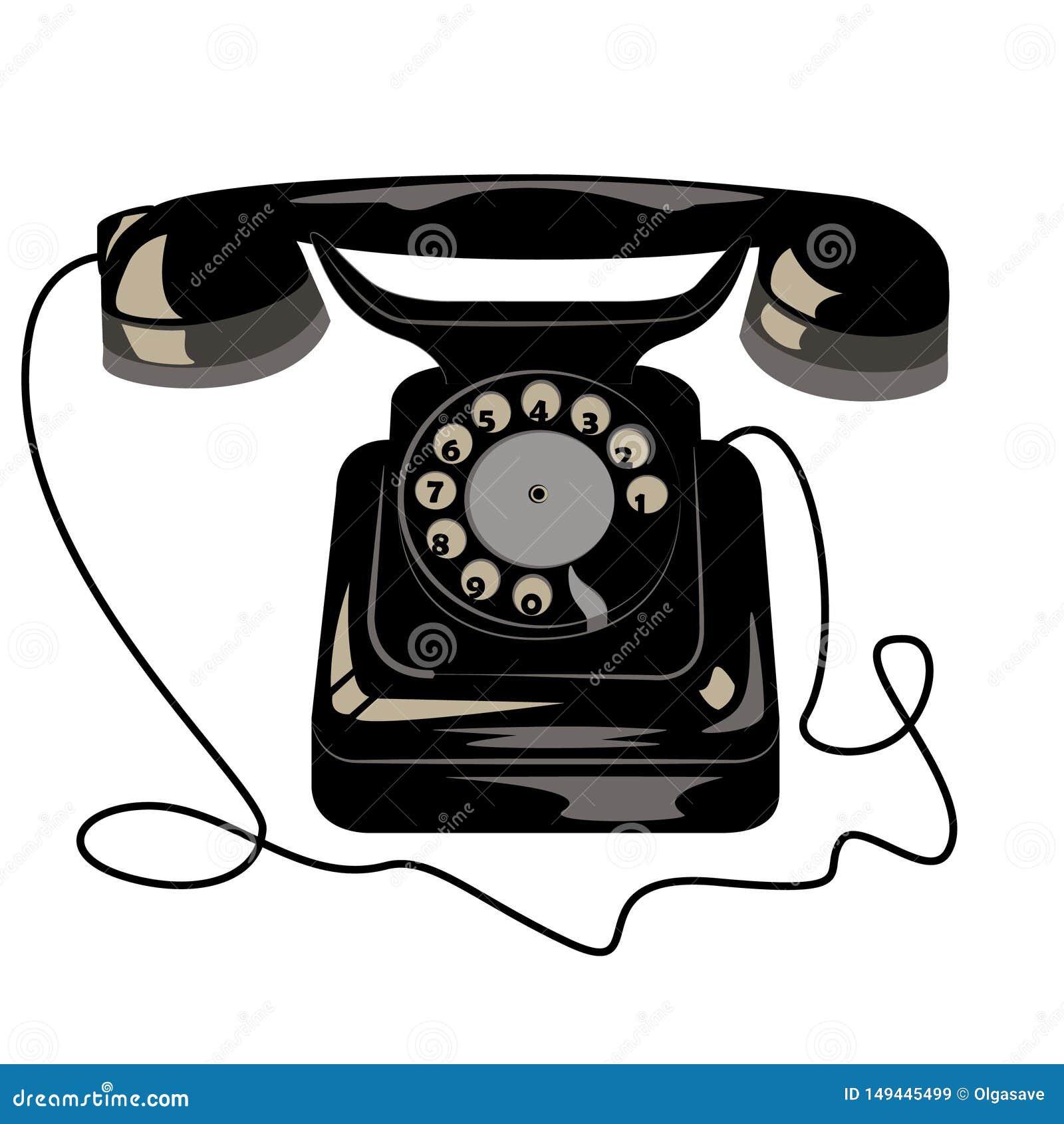 Vieux r?tro t?l?phone noir avec le disque et le fil de cadran