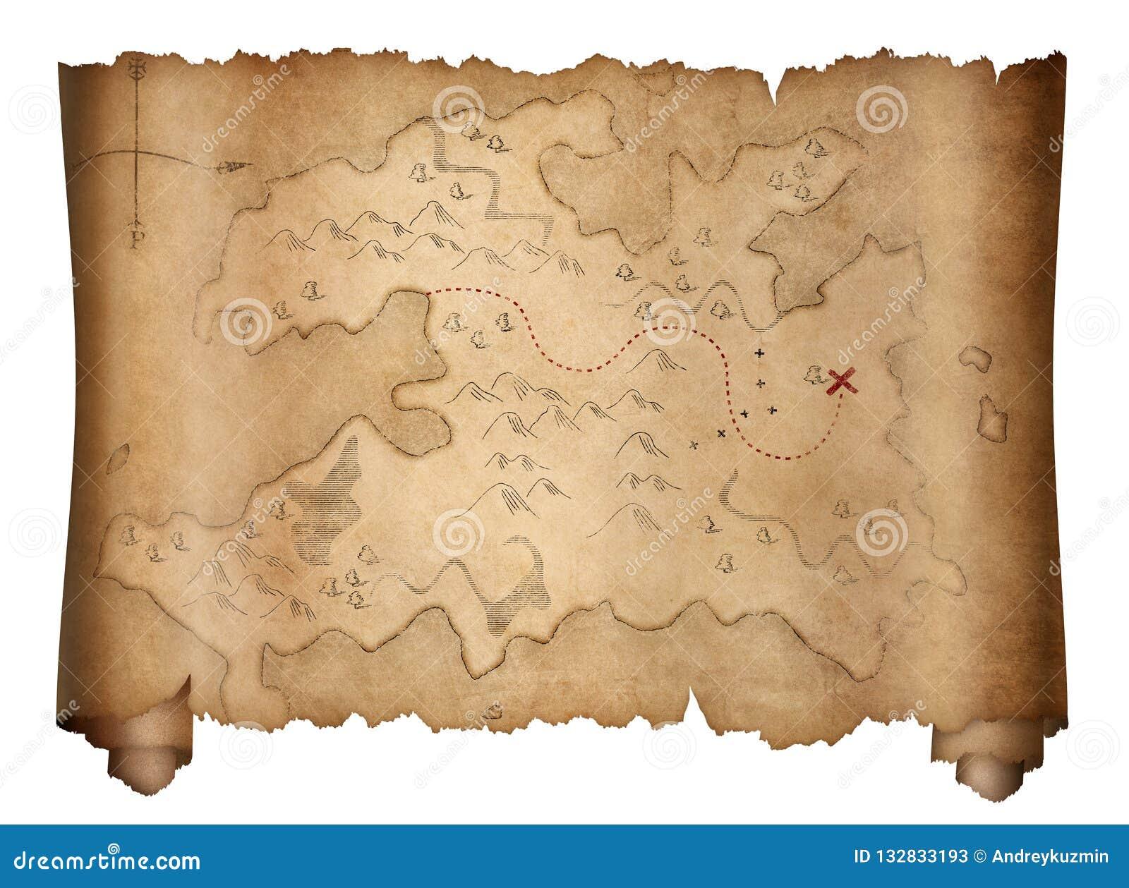 Carte Au Tresor Pirate.Vieux Rouleau De Carte De Tresor De Pirates D Isolement Sur