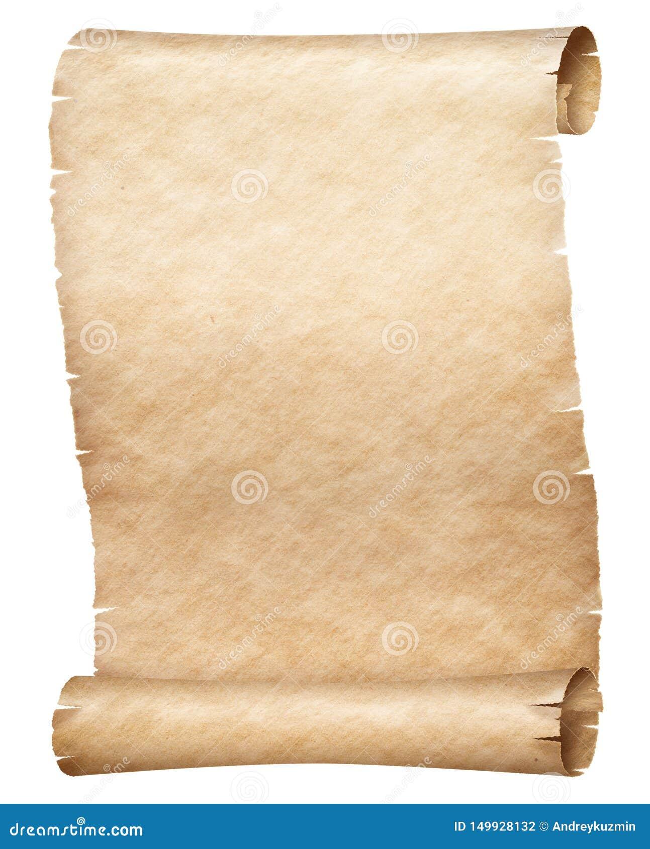 Vieux Rouleau De Papyrus Ou De Parchemin D Isolement Sur Le Blanc Photo Stock Image Du Parchemin Isolement 149928132