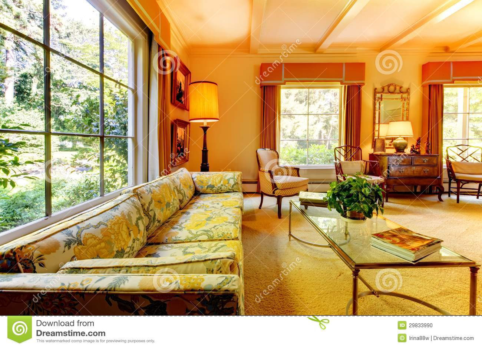 Vieux salon am ricain de maison avec les d tails antiques photo stock image 29833990 - Salon americain ...