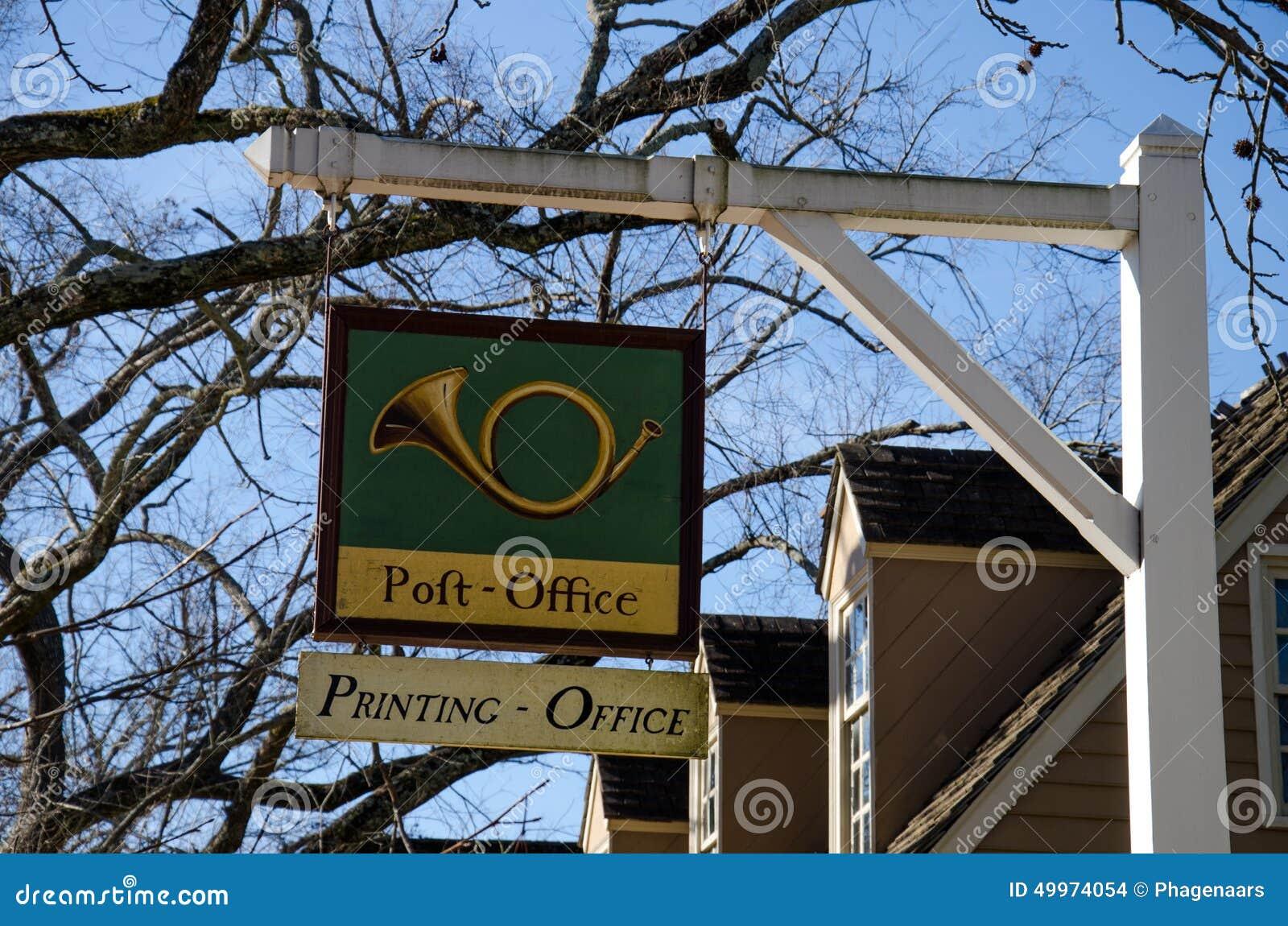 Vieux signe de bureau de poste williamsburg la virginie etats