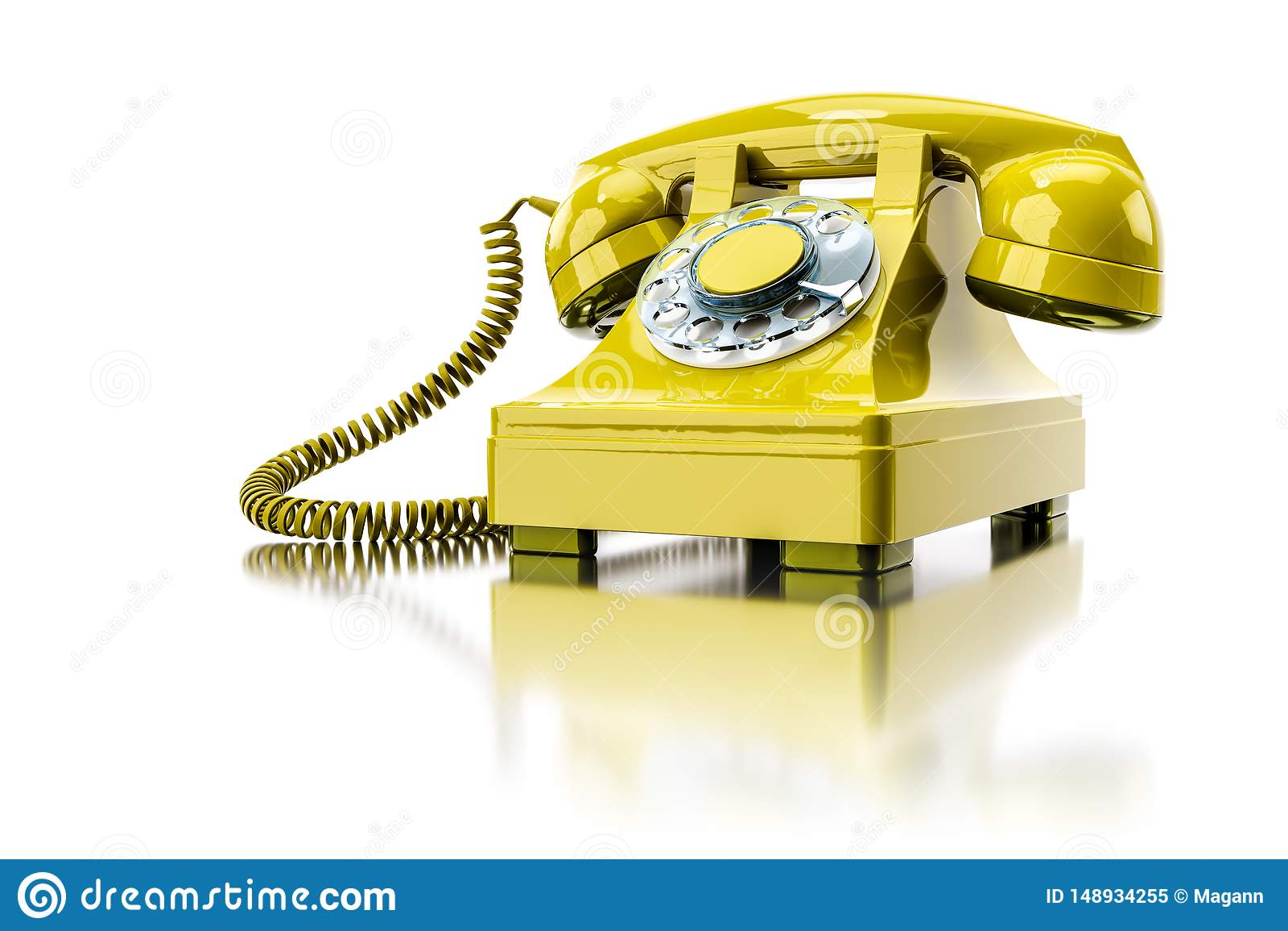 Vieux téléphone commuté jaune