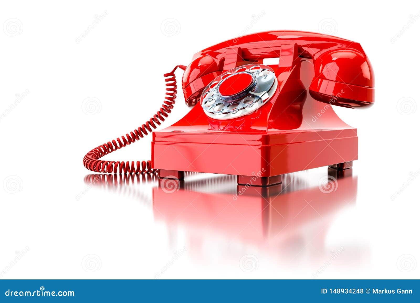 Vieux téléphone commuté rouge
