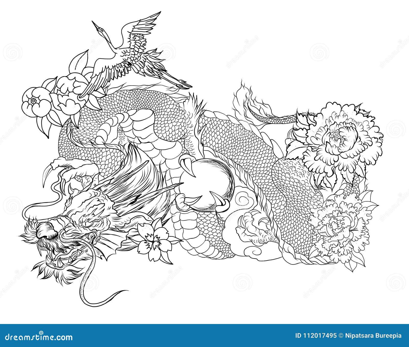 Vieux Tatouage Japonais De Dragon Et De Heron Dragon Tire Par La