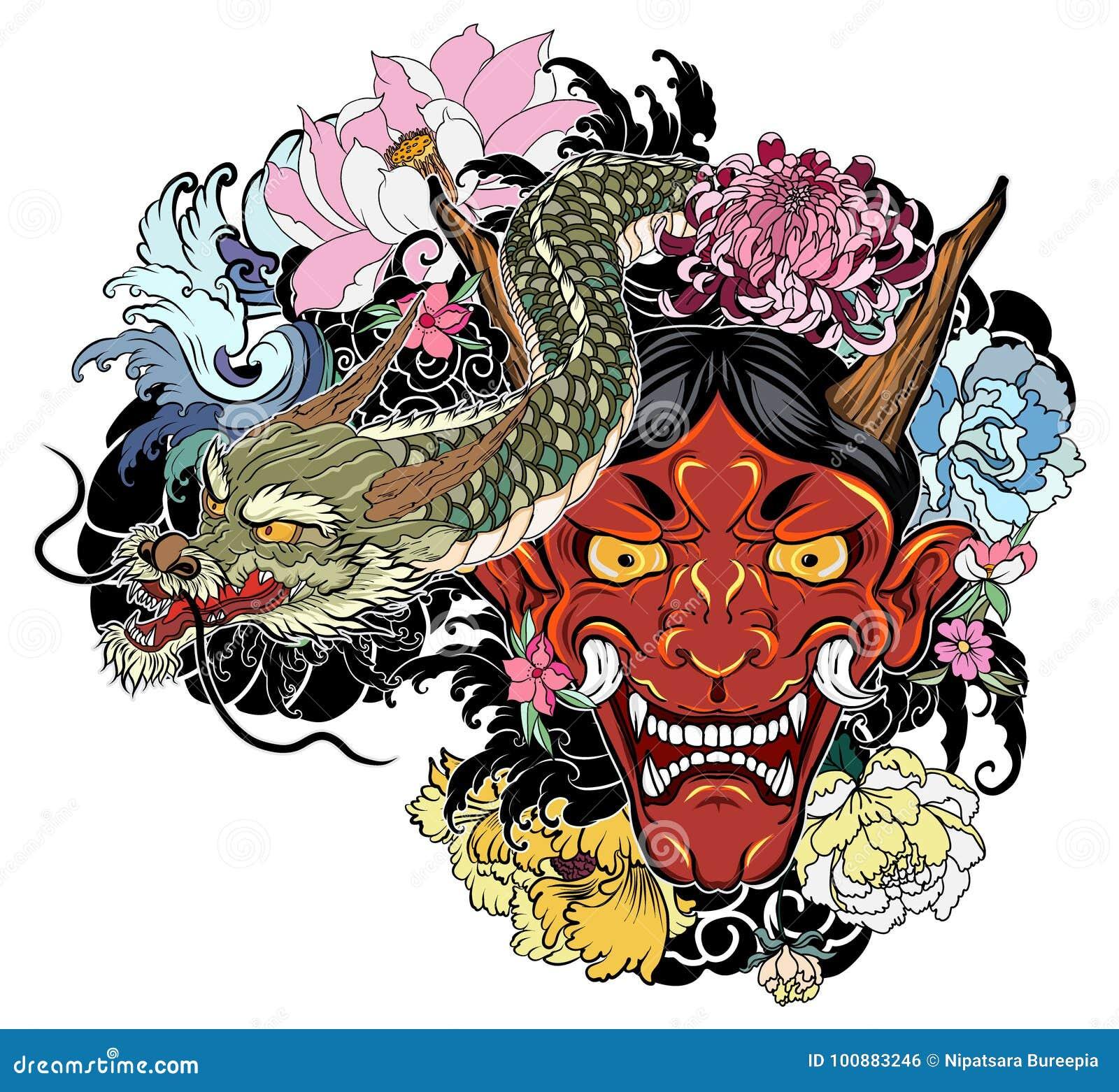 Vieux Tatouage Japonais De Dragon Pour Le Bras Le Masque Tire Par La