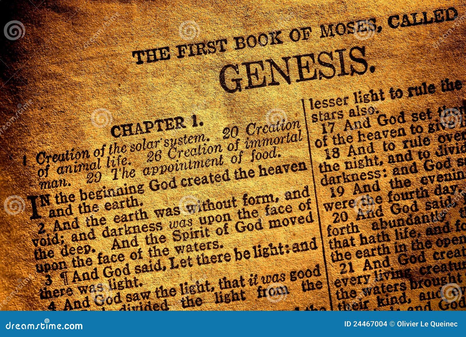 Vieux texte antique de chapitre de genèse de livre de bible sainte