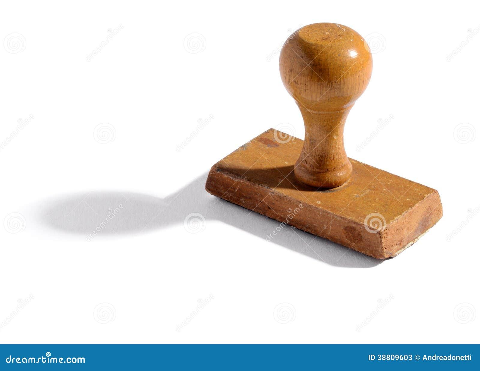 Vieux timbre en bois de main de bureau image stock image du