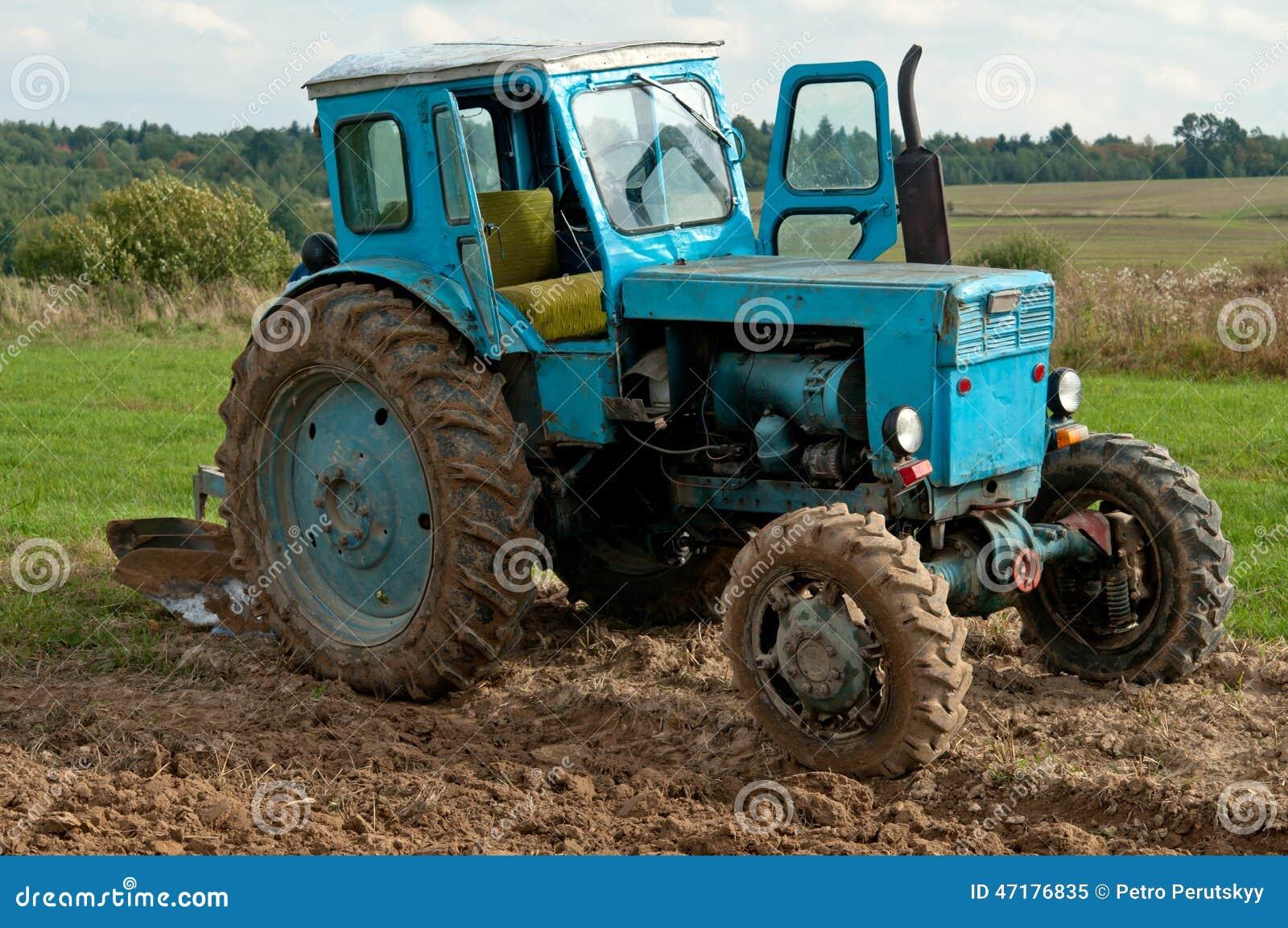 Vieux tracteur bleu photo stock image 47176835 - Siege tracteur ancien ...