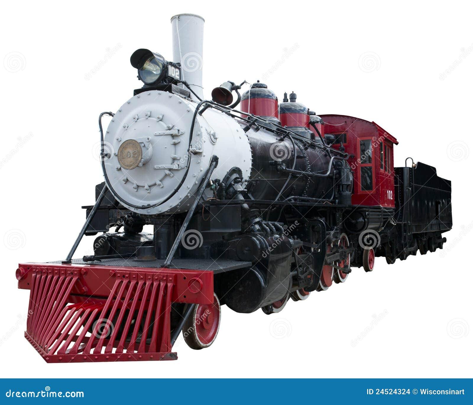 Vieux train de locomotive à vapeur de cru d isolement, blanc