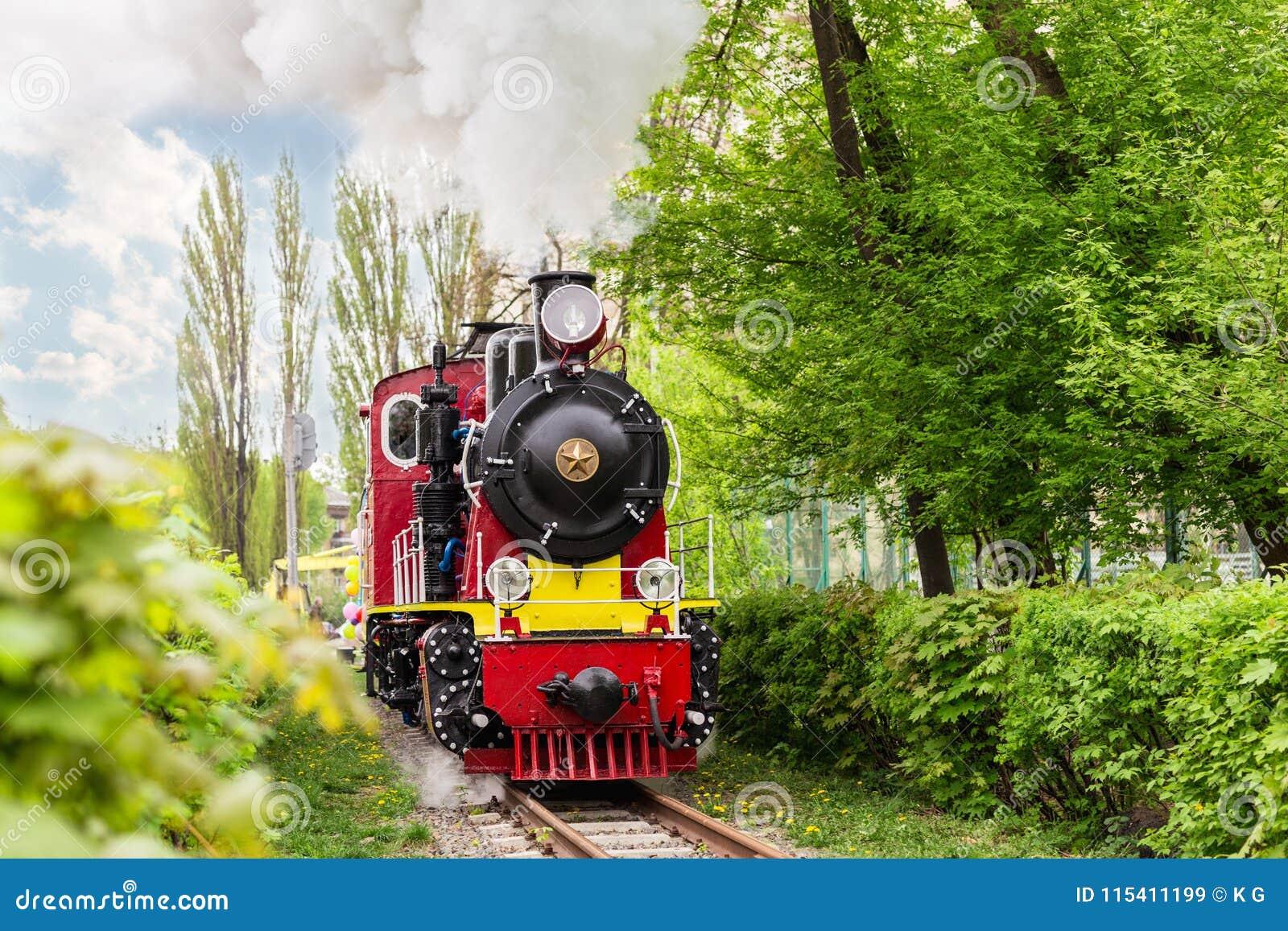 Vieux train lumineux en parc vert de ville sur le chemin de fer touristique Rétro locomotive avec des nuages de vapeur de tuyau d