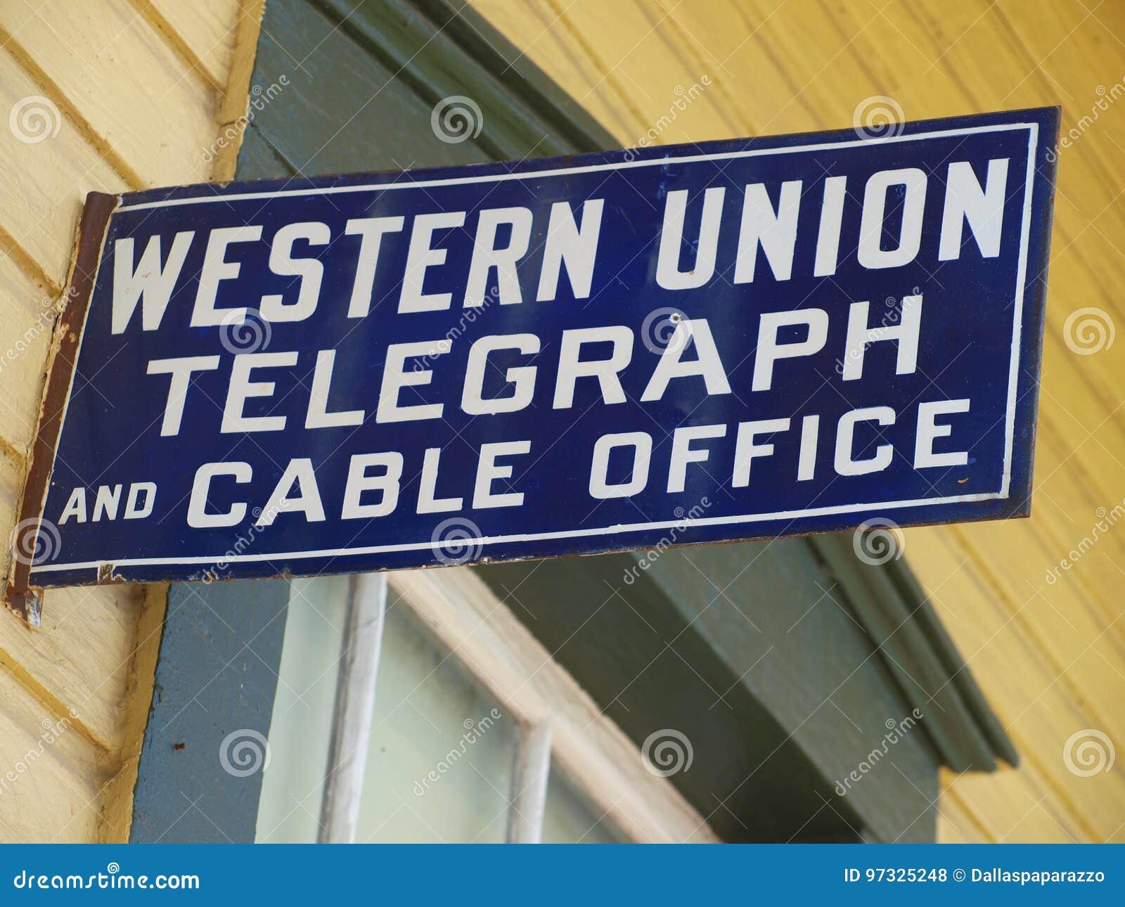 Vieux western union clôturent le signe photo stock éditorial