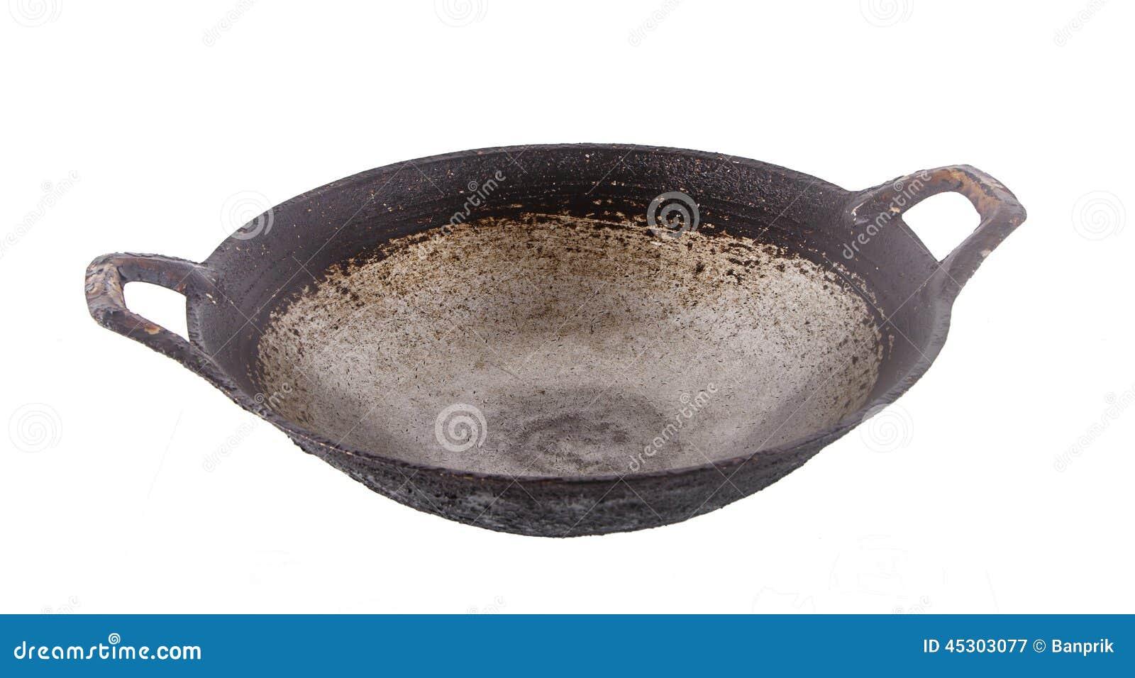 Vieux wok noir d 39 isolement sur le blanc image stock for Cuisinier wok