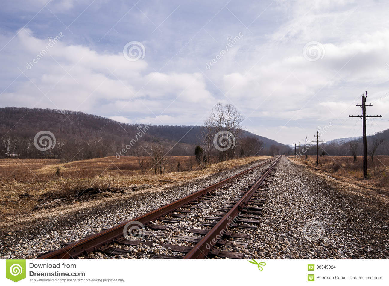 Abandoned Railroad - Track View On Cloudy Afternoon Stock
