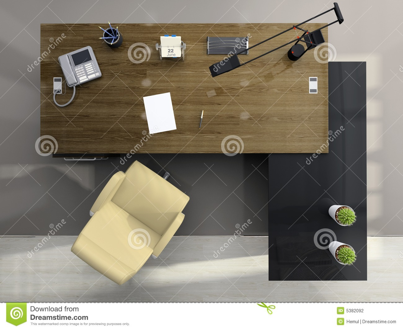 View From Above Of The Office Stock Illustration Illustration Of Chair Calendar
