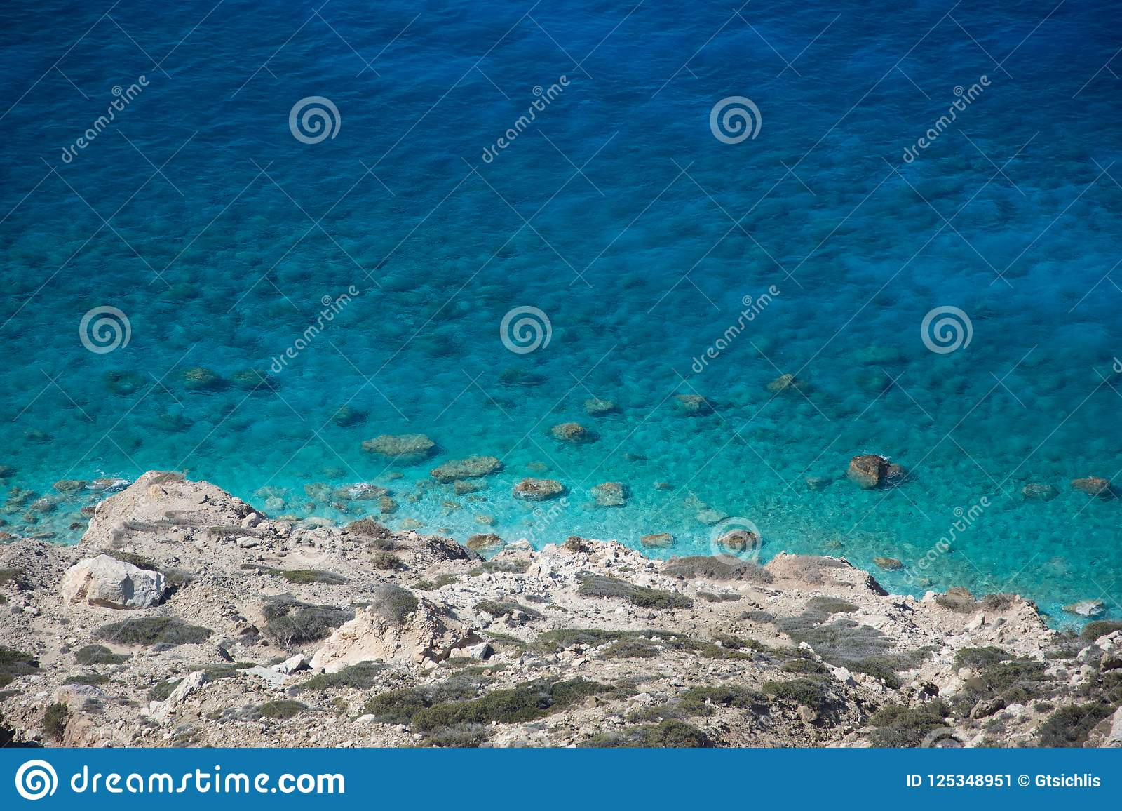 View from above of scenic coast with turquoise water, Gavdos, Greece