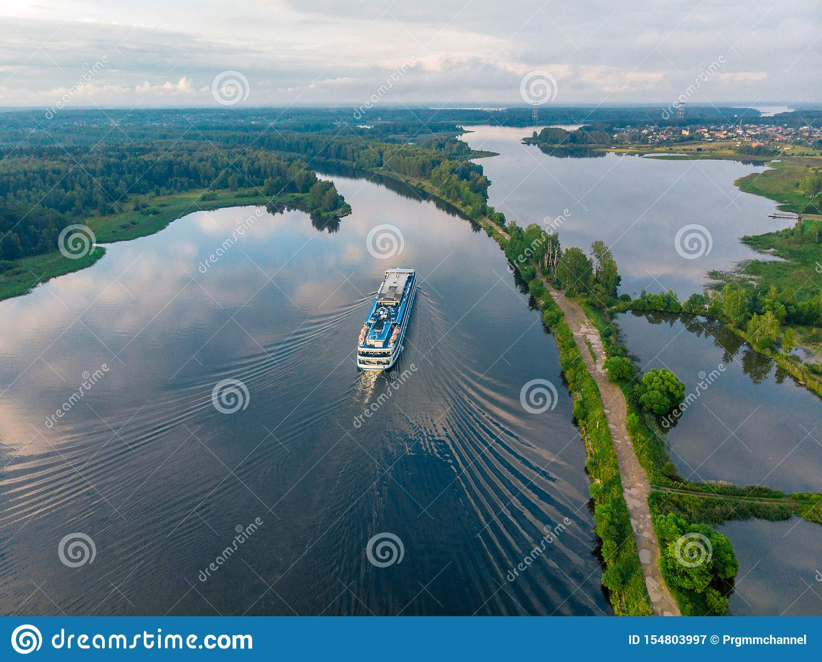 View from above on a ship going along the blue river
