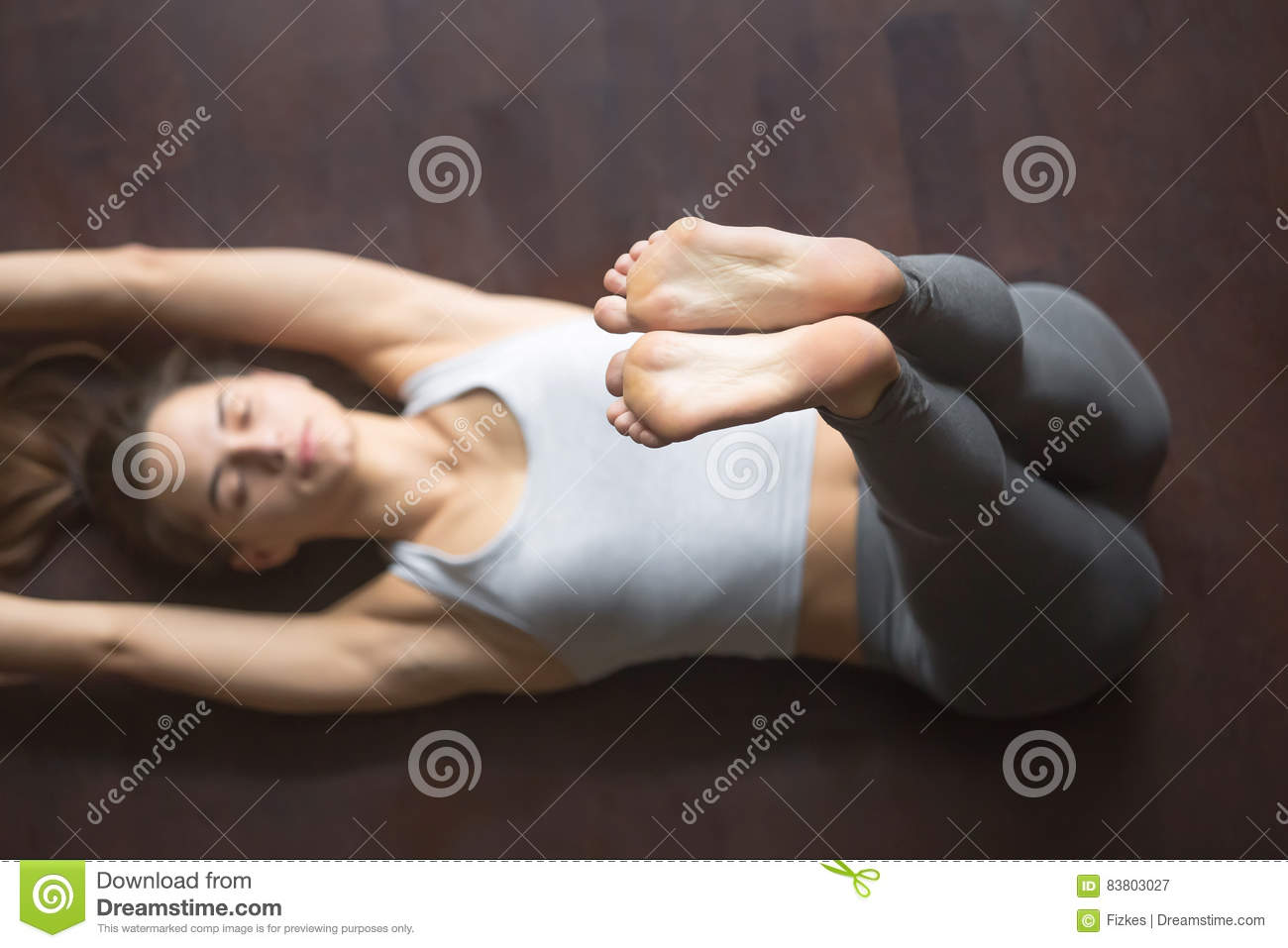 View From Above. Upward Extended Feet Yoga Pose Stock Image ...