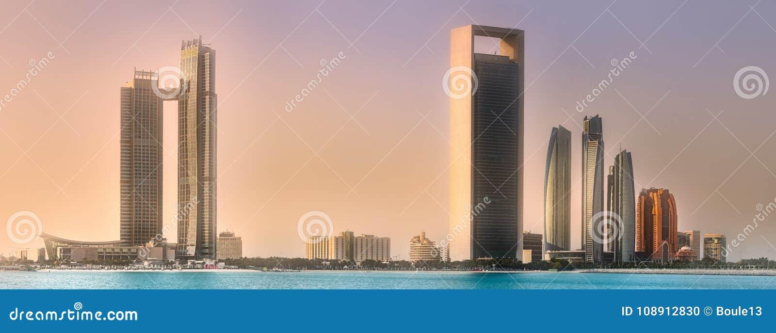 View of Abu Dhabi Skyline at sunrise, UAE