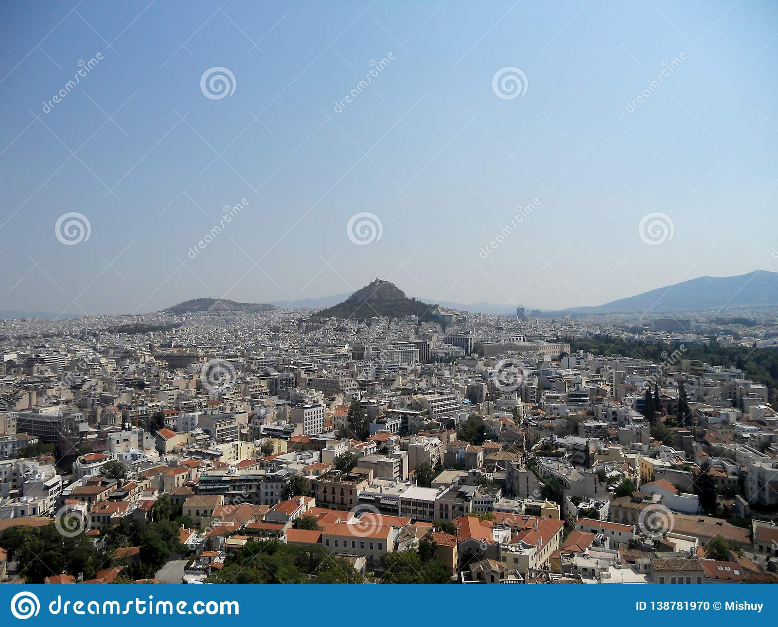 Panoramic view from Acropolis to City of Athens
