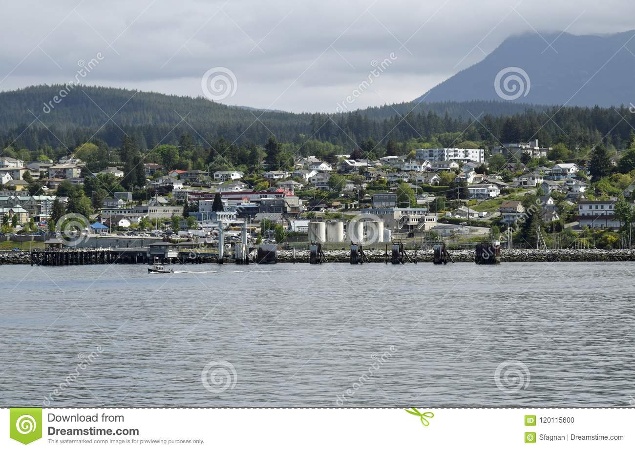 ocean view towards the harbour in Powell River, BC