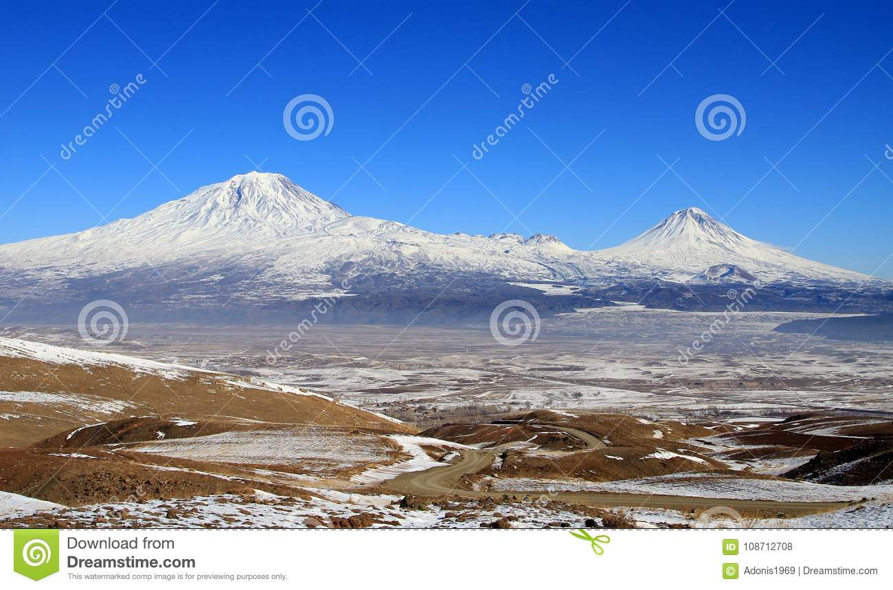 Agri Mountain Covered In Snow Stock Photo - Image of scenic
