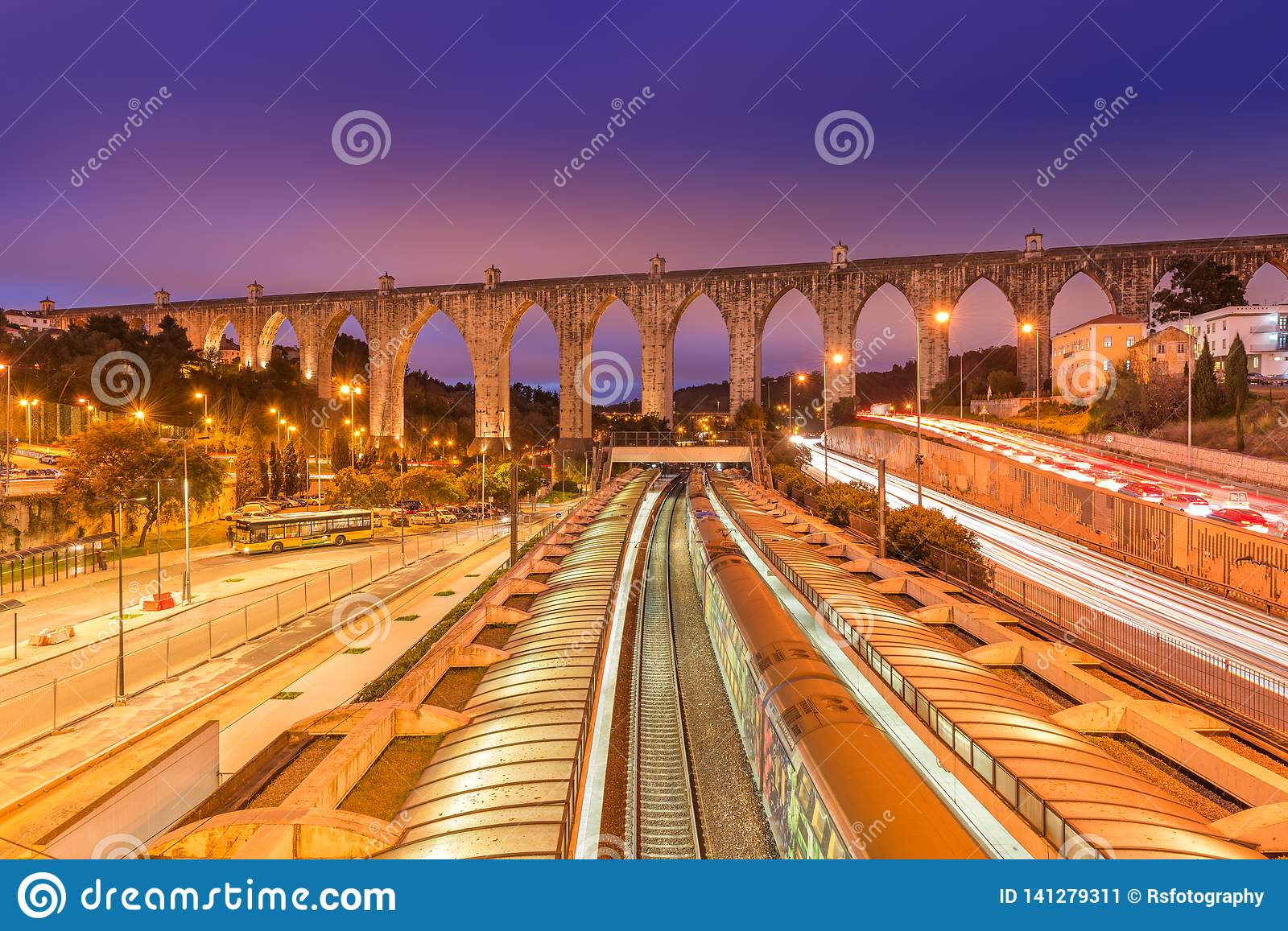 View of The Aguas Livres Aqueduct and Campolide train station, Lisbon, Portugal