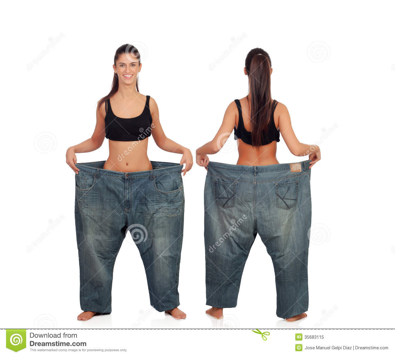 View ahead and behind thin girl with big pants isolated on a white ...: http://www.dreamstime.com/royalty-free-stock-photo-view-ahead-behind-thin-girl-big-pants-isolated-white-background-image35683115
