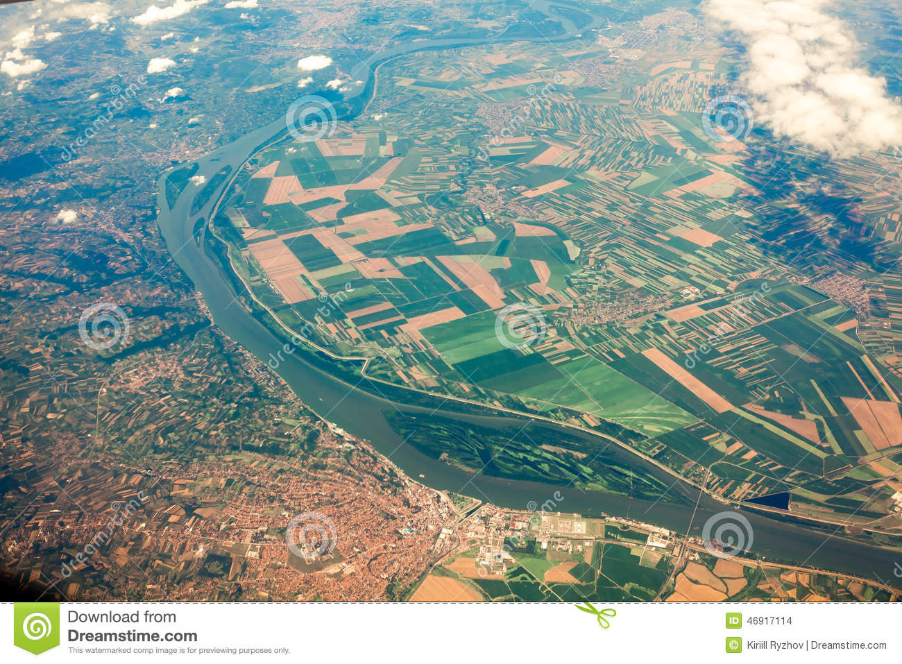 Download View From Airplane On Ground With Fields, Forest And Rivers Stock Photo - Image of ground, nature: 46917114