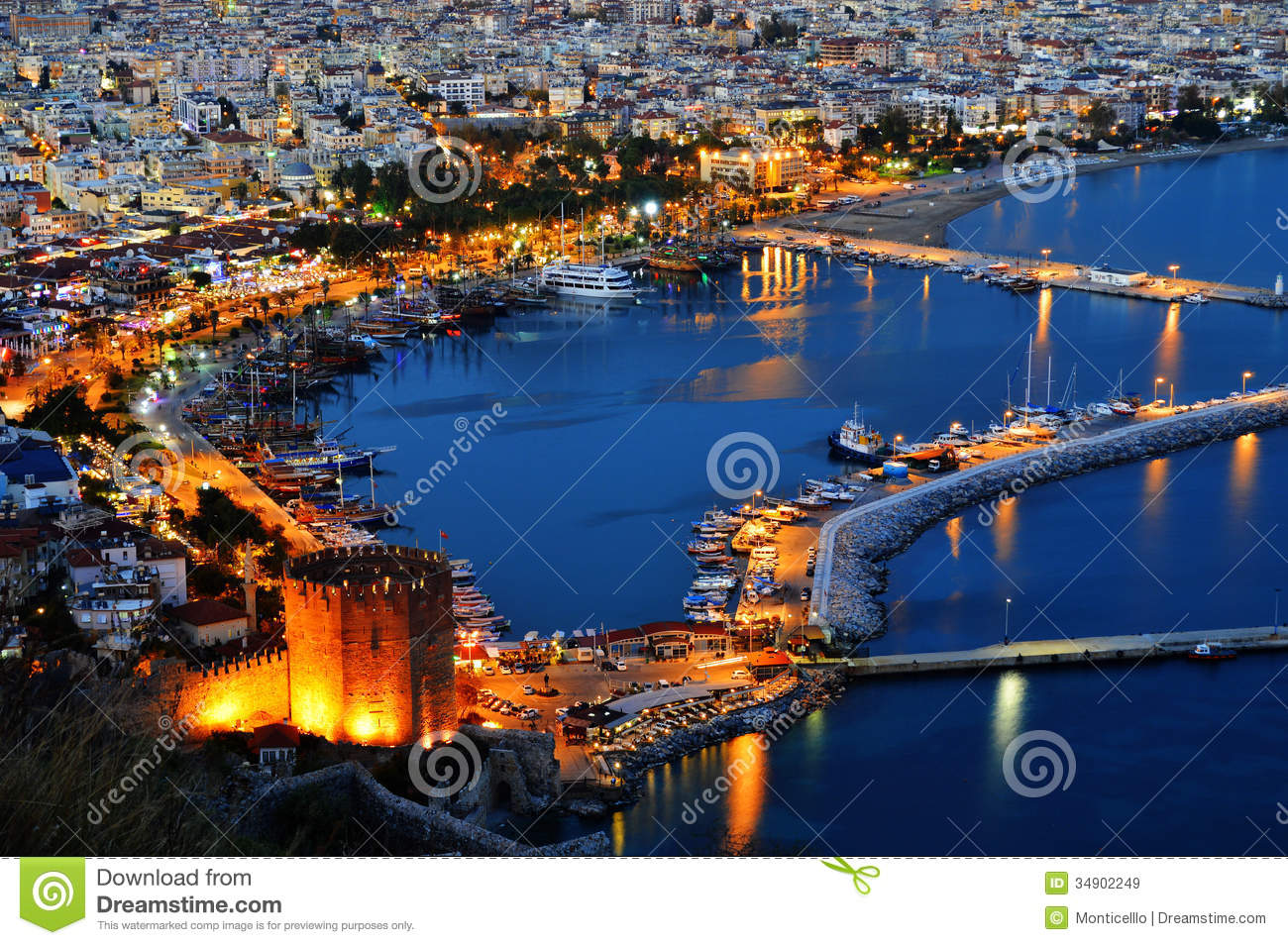 View Of Alanya Harbor Form Alanya Peninsula. Turkish ...