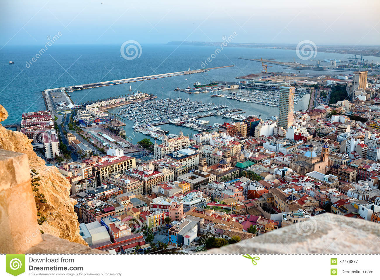 View on alicante old city and port from castle santa barbara summer spain stock image image - Stock uno alicante ...