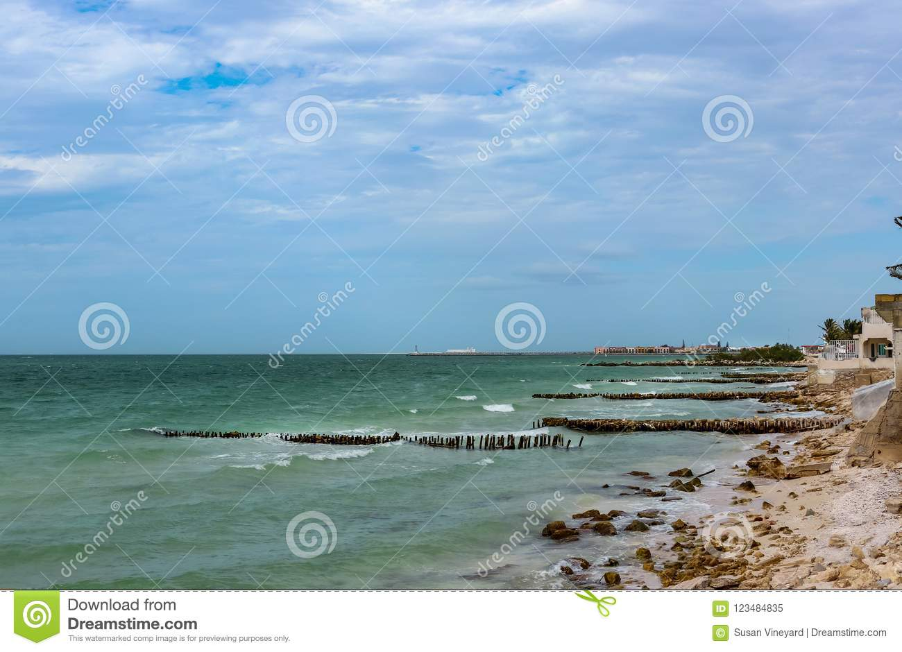 View Along Eroded Beach With Sand Fencing In Progreso Mexico