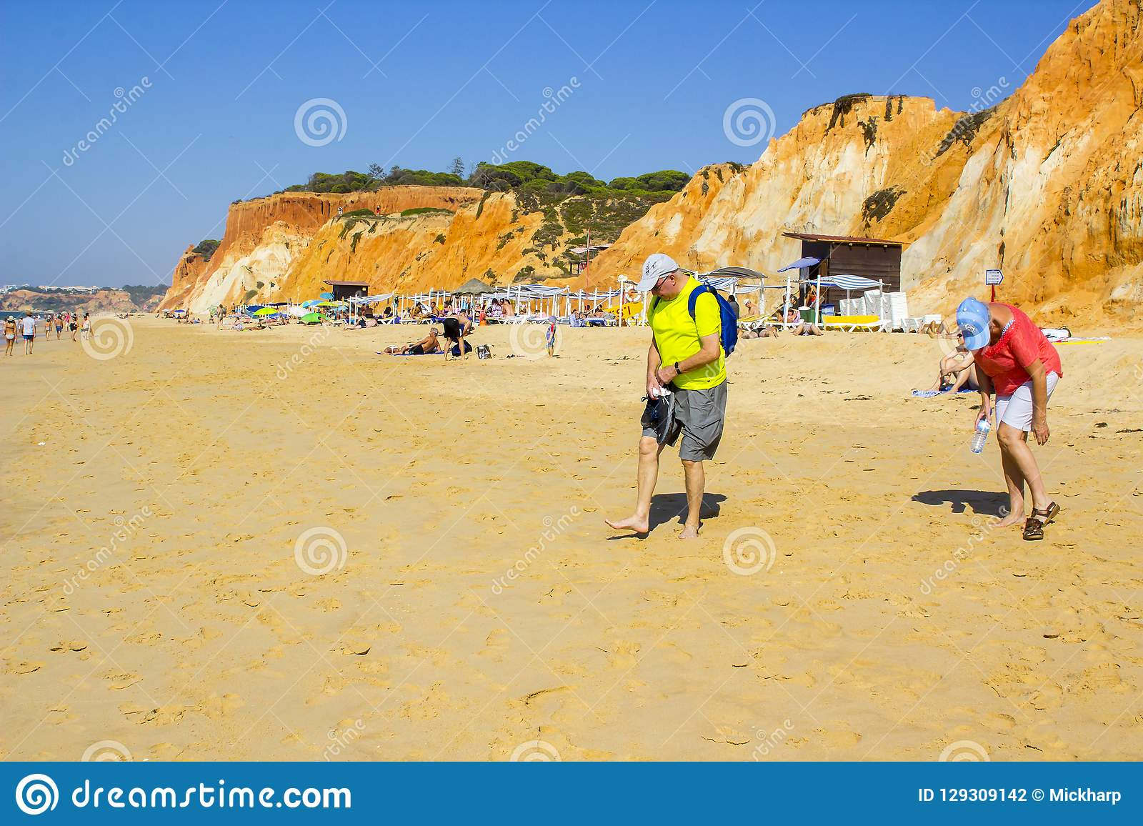 A view along the Falesia Beach in Portugal Albuferia