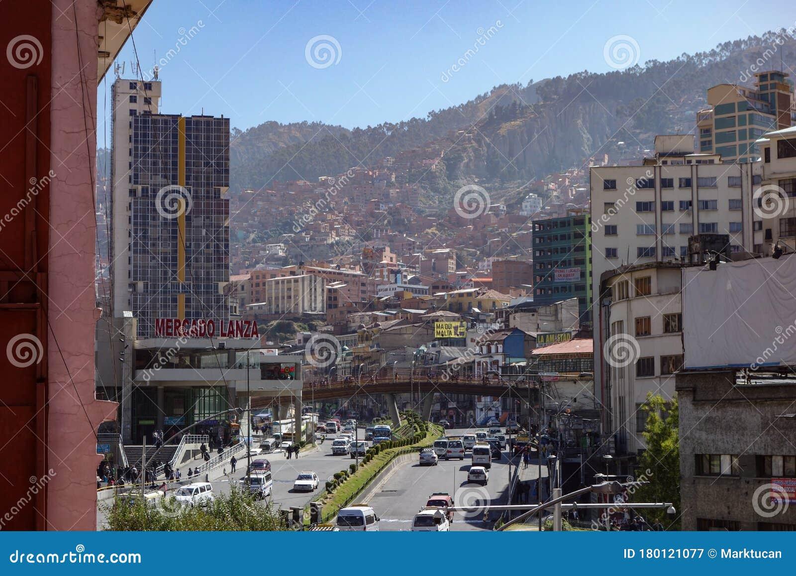 View Along Mariscal Santa Cruz Avenue Downtown La Paz Bolivia Editorial Photography Image Of City Building 180121077