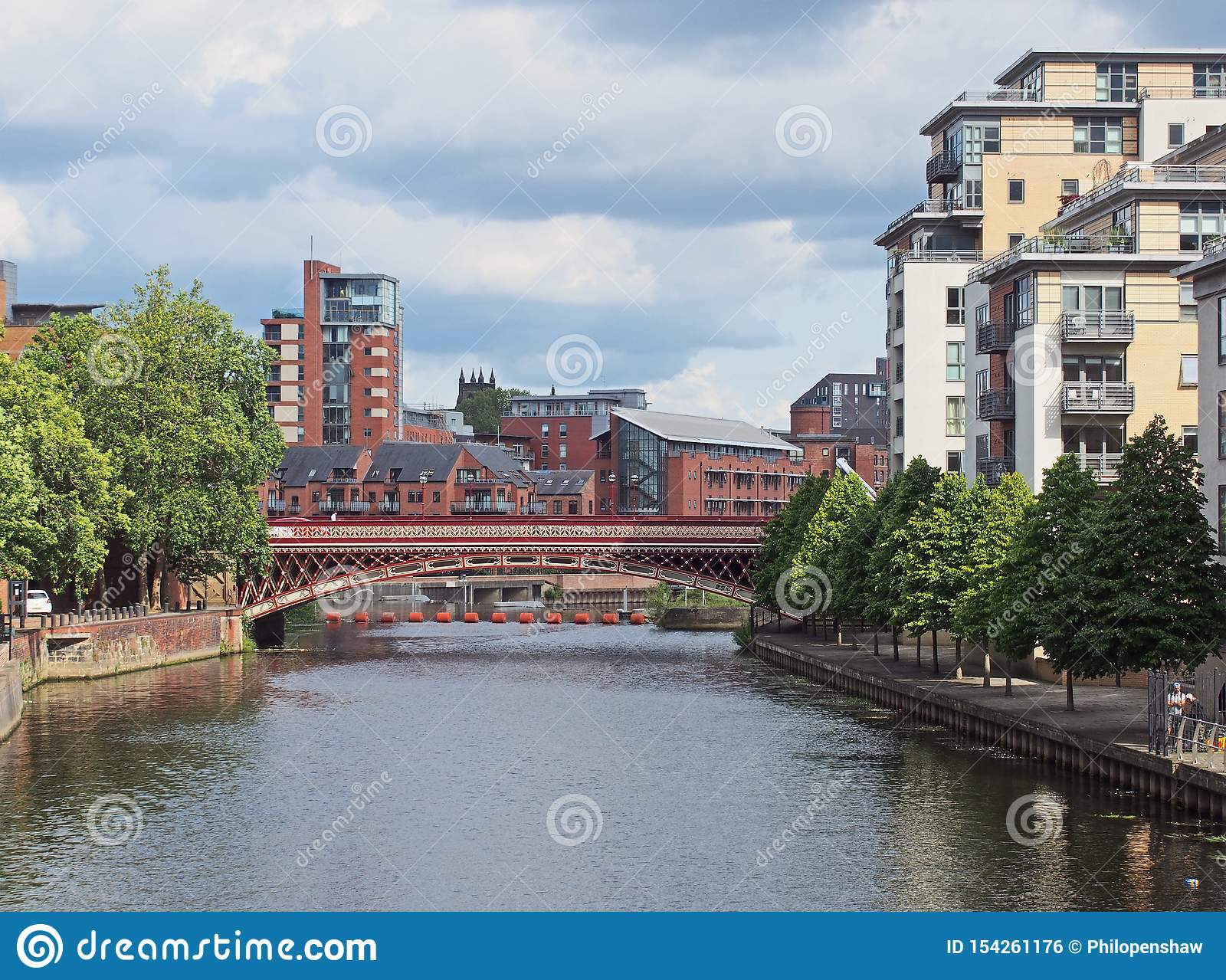 A View Along The River Aire In Leeds With Waterside ...