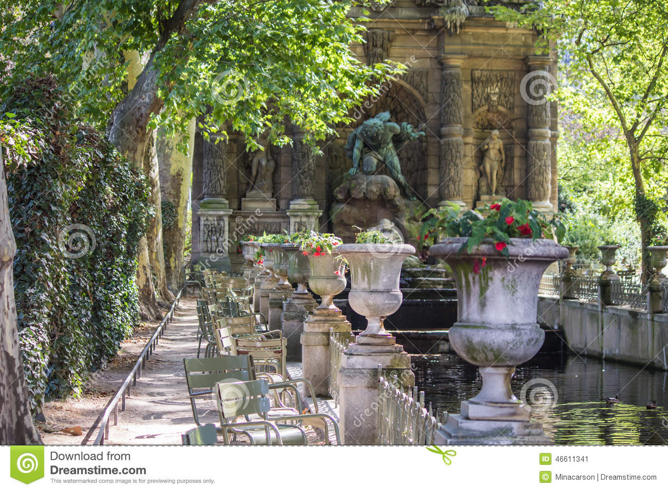 view along row of stone urns to fontaine de medici jardin de luxembourg paris editorial photo. Black Bedroom Furniture Sets. Home Design Ideas