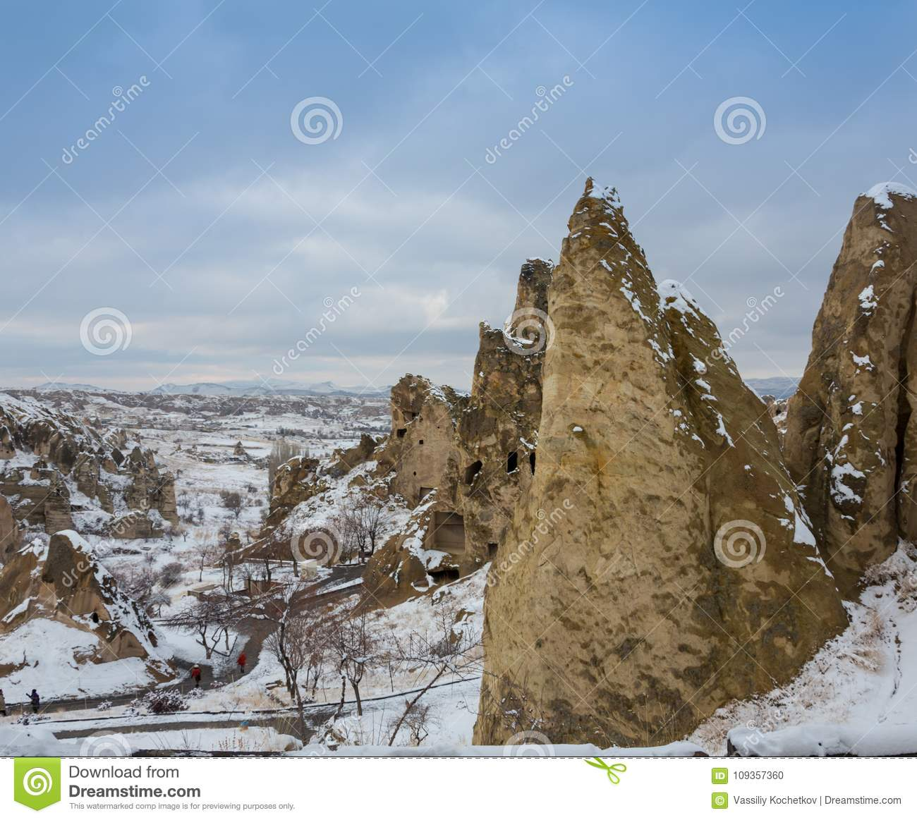 View of ancient Uchisar cave town and a castle of Uchisar dug from a mountains in Cappadocia, Central Anatolia,Turkey