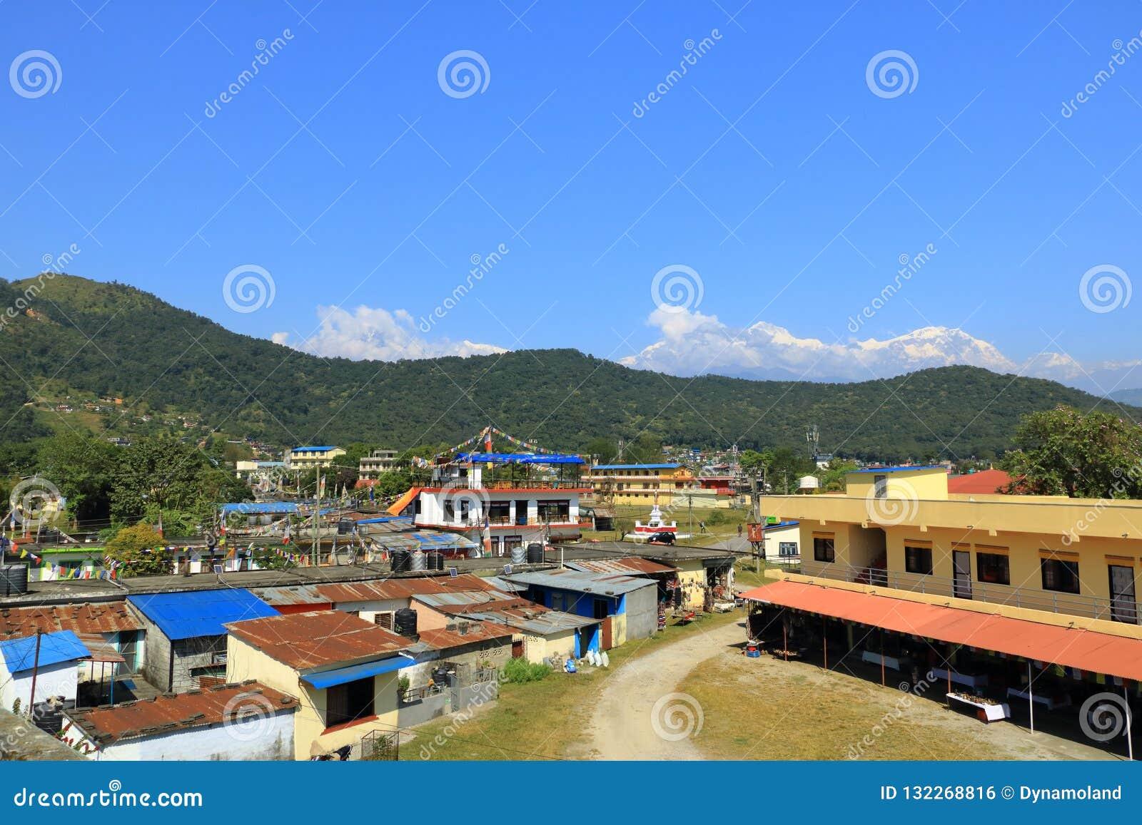 View At Annapurna Mountain Range From Pokhara, Nepal Stock ...