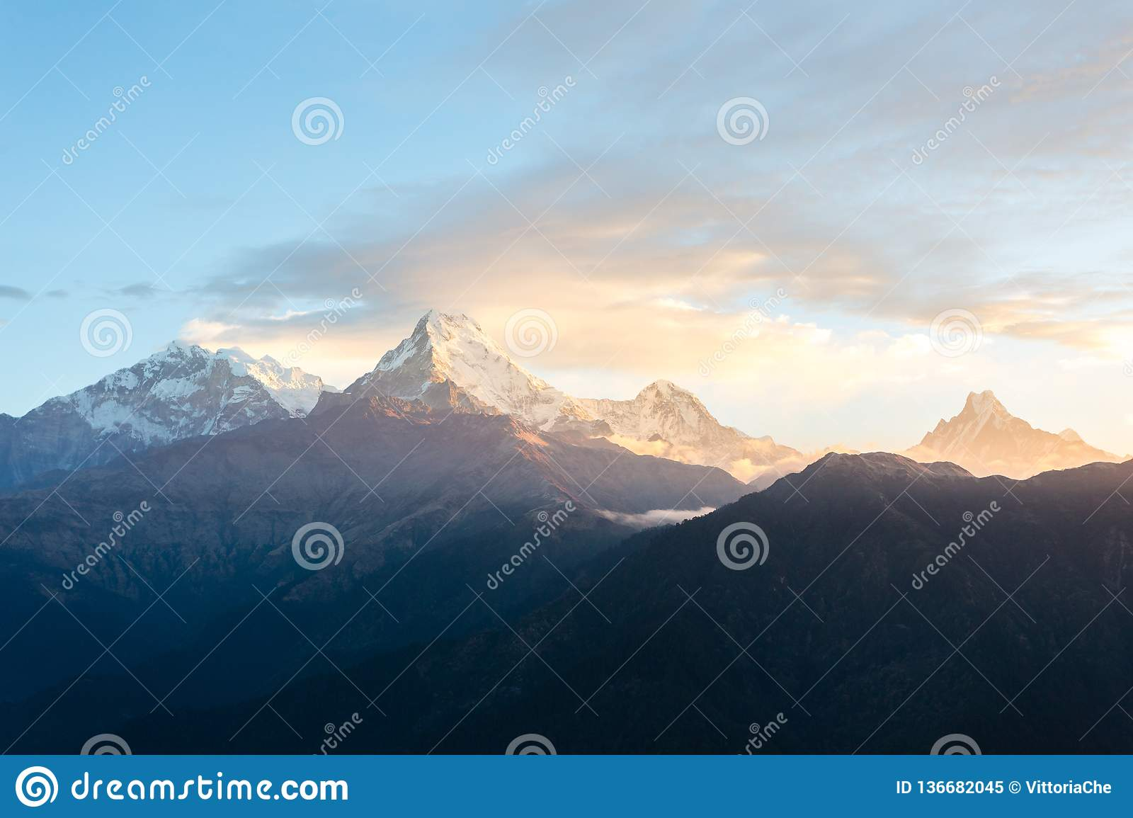 View of Annapurna mountain range from Poon Hill 3210 m on sunrise. It`s the famous view point in Gorepani village in Annapurna