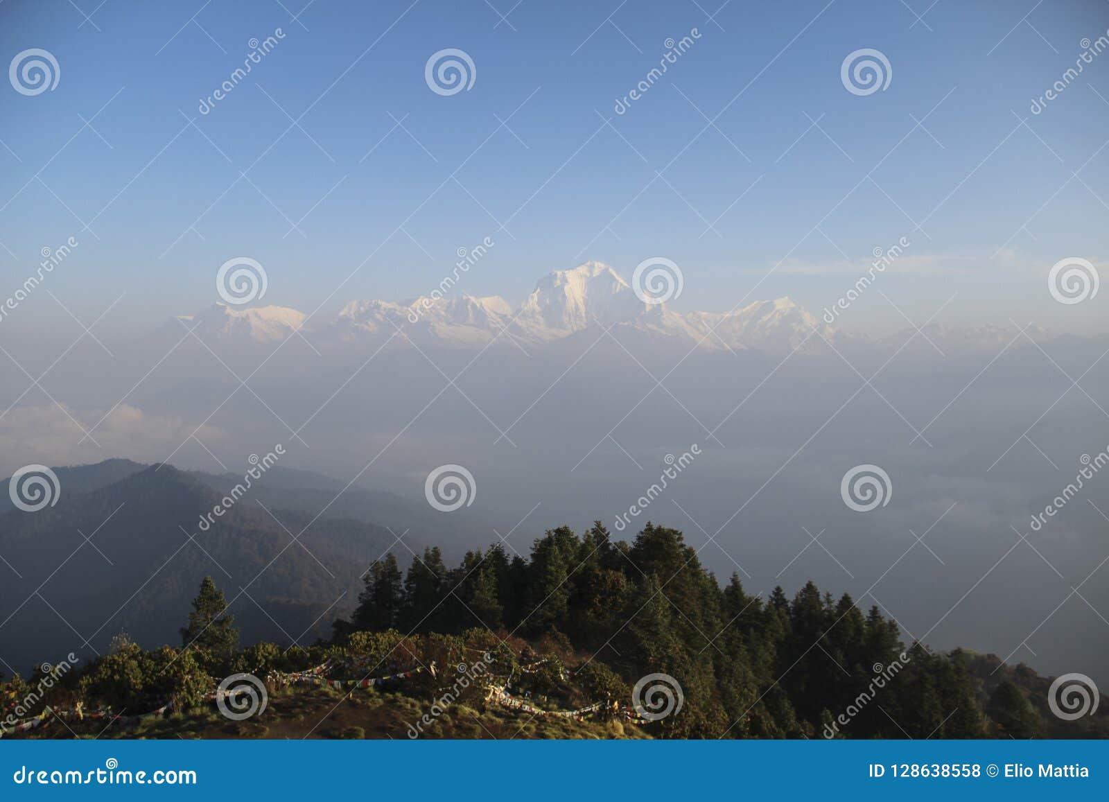 View of the Annapurna range from Poon Hill at sunrise, Ghorepani/Ghandruk, Nepal