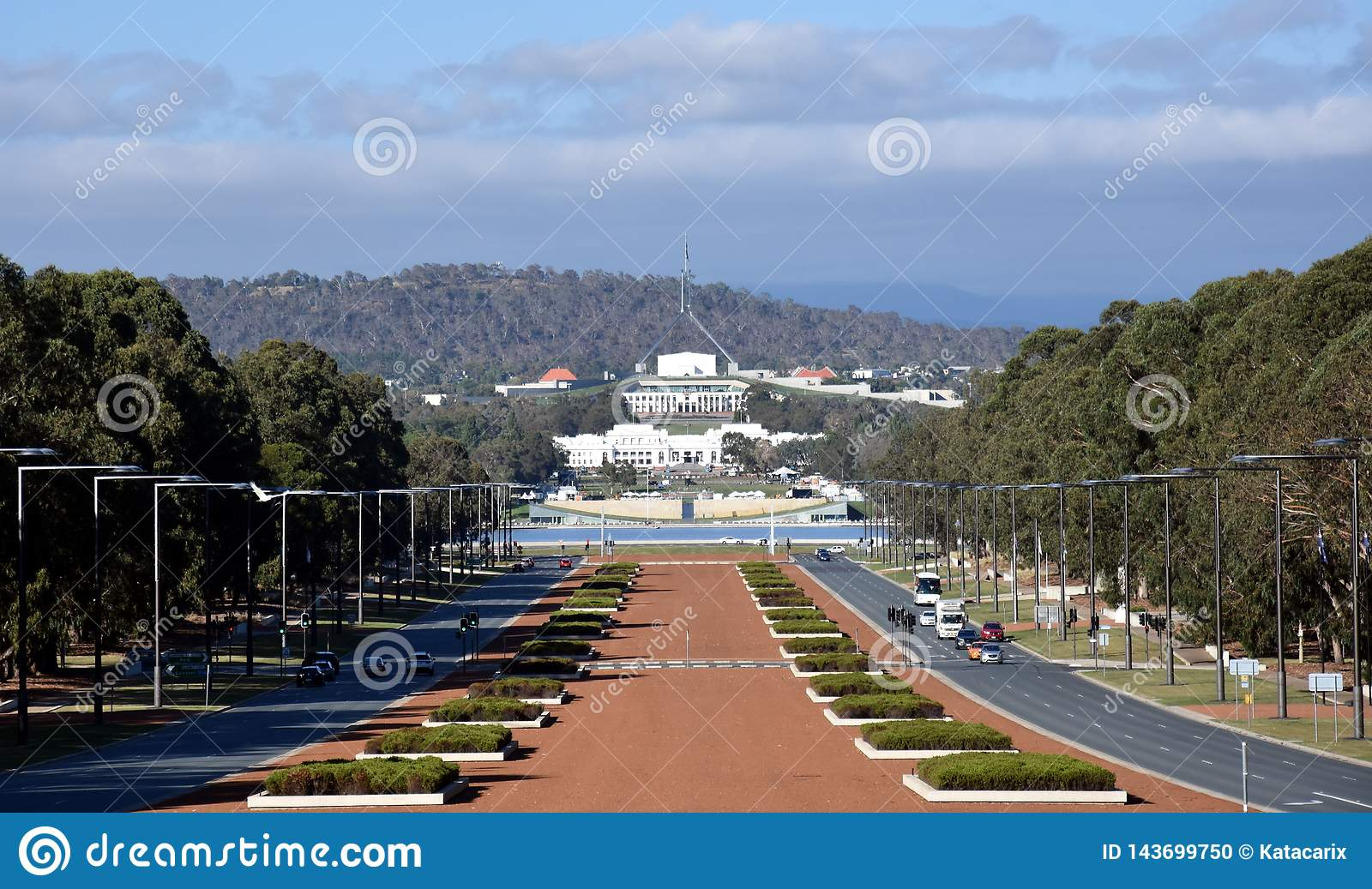 View of Anzac Parade and Parliament House in Canberra, Australia