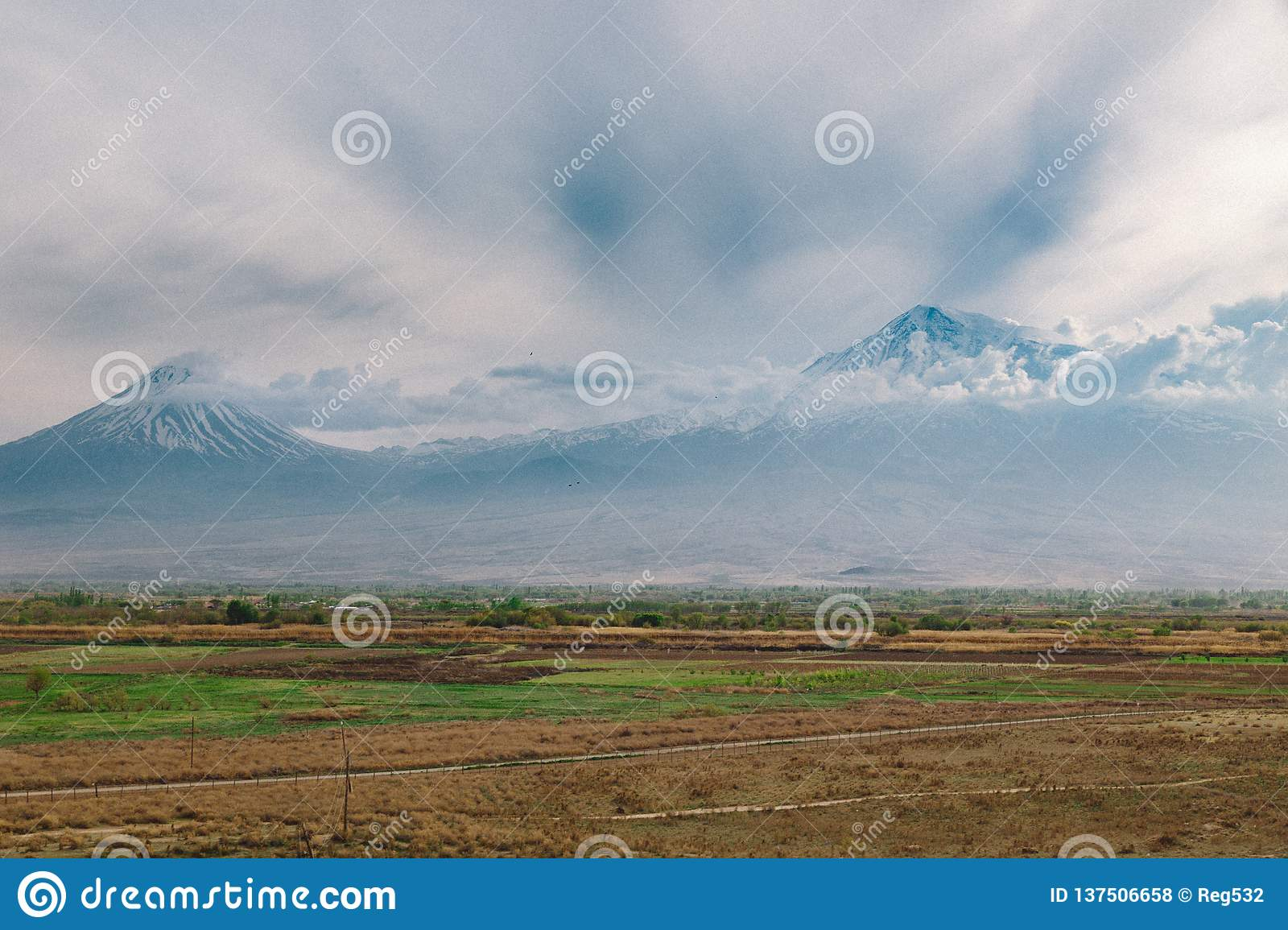 View of ararat mountain in clouds