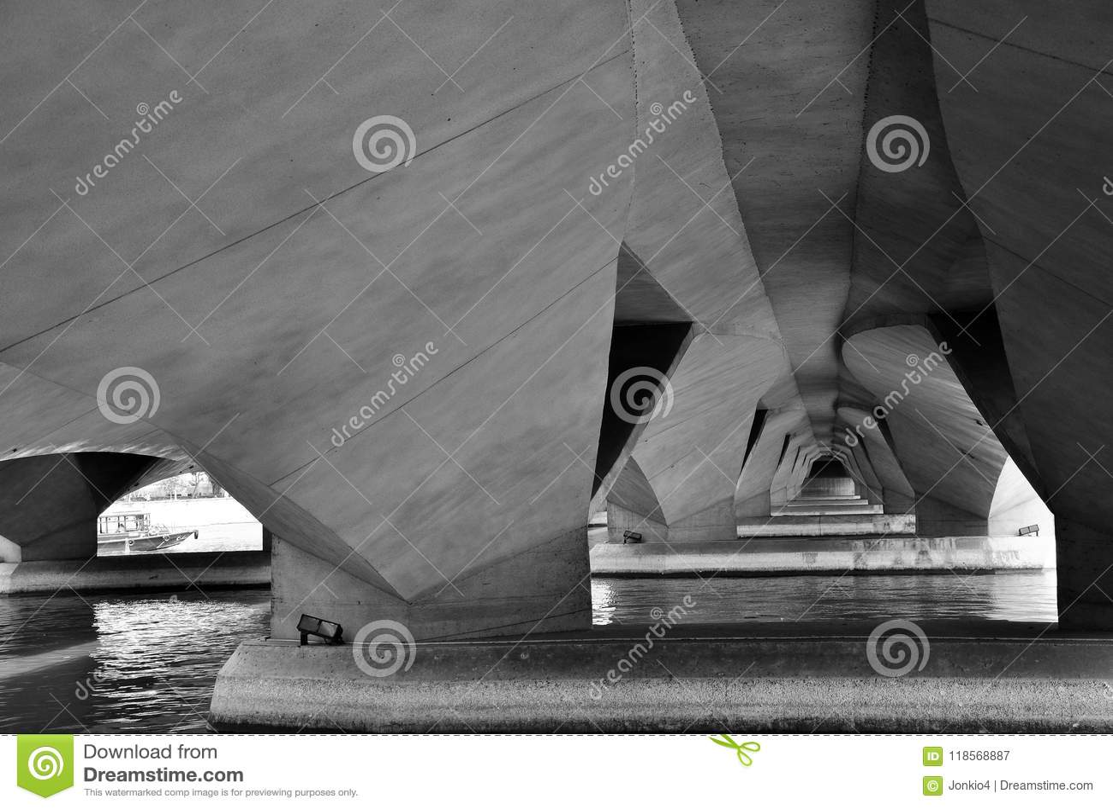Underneath view of Esplanade Bridge, Singapore