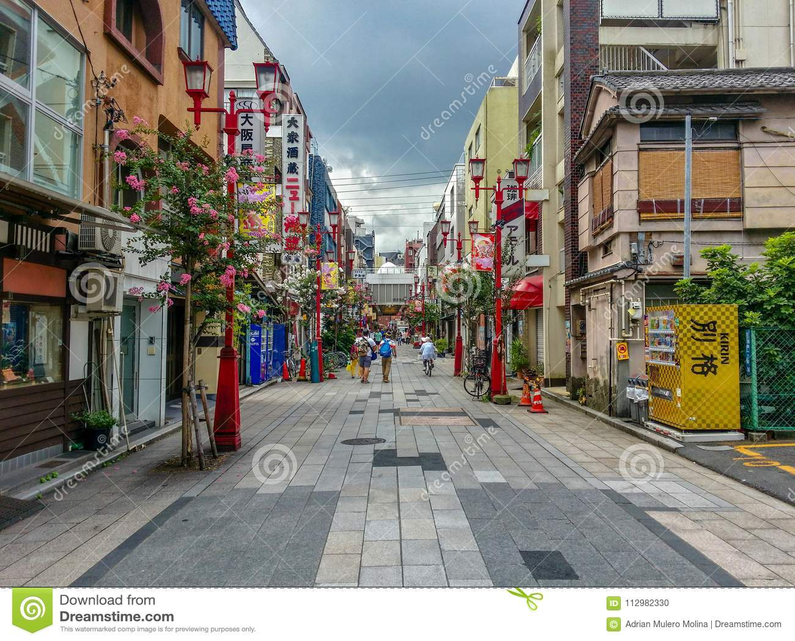 View of Asakusa street in tokyo in summer season.