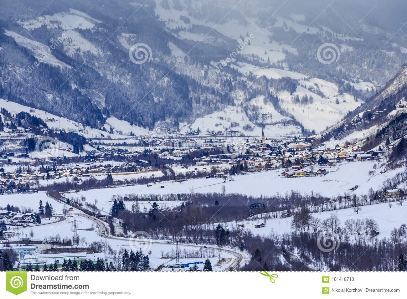 view of the austrian spa and ski resort bad gasteinl stock image