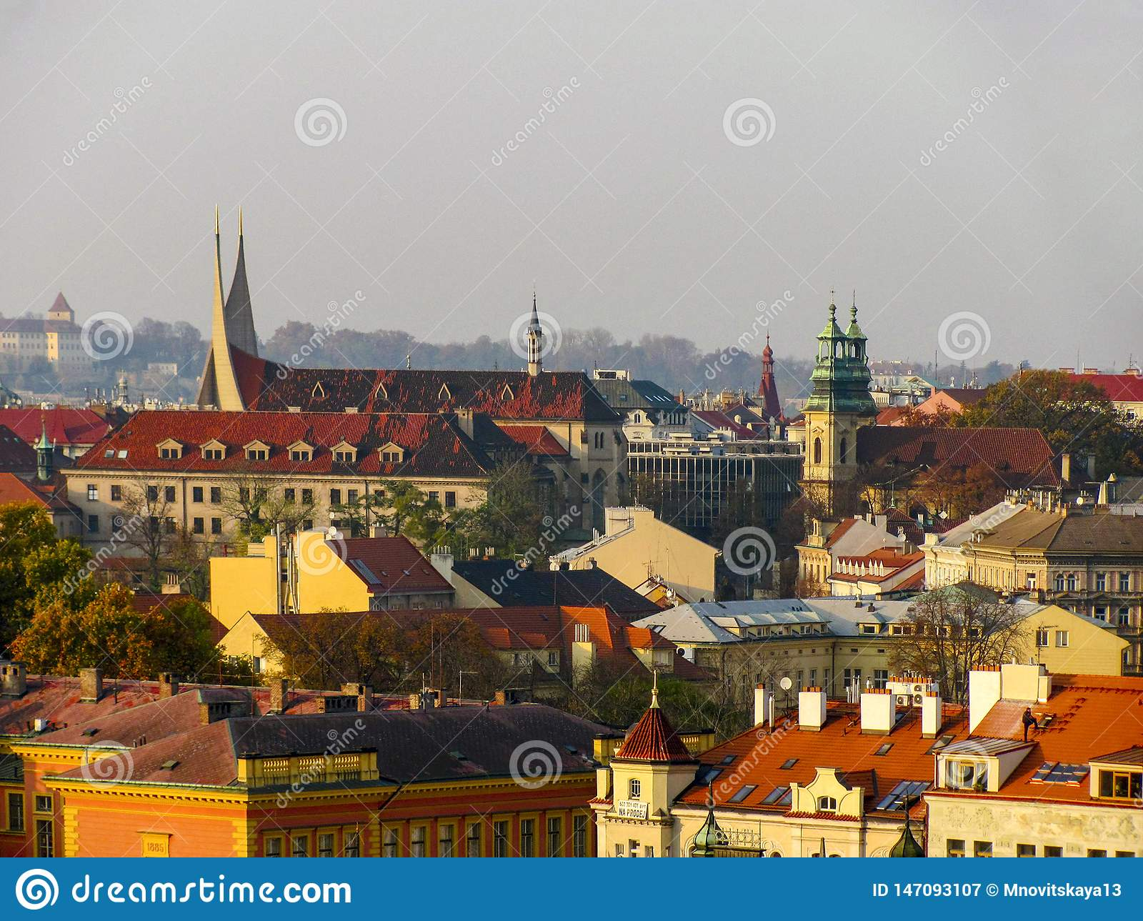 Cityscape of old Prague, tiled roofs of old houses