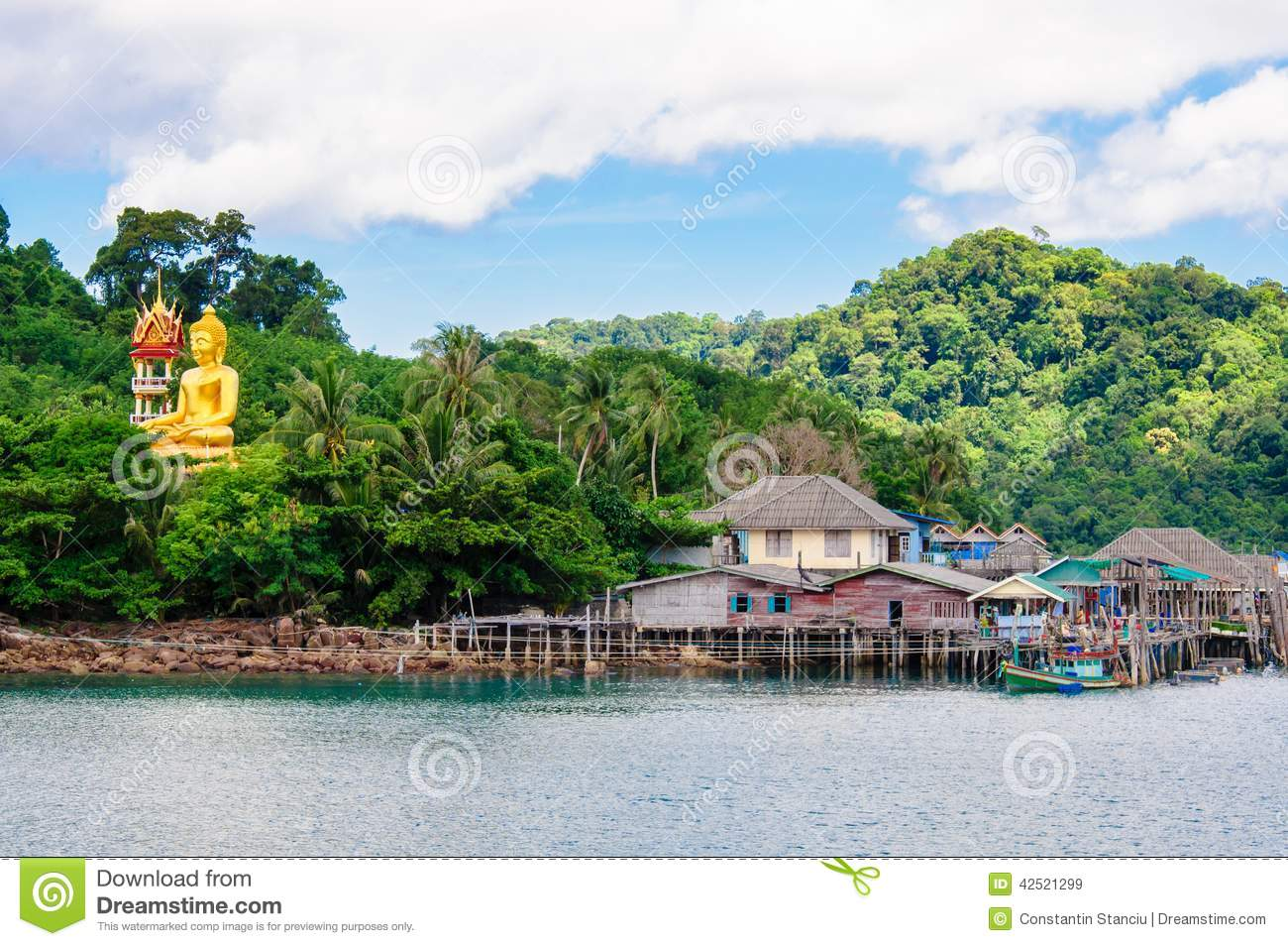 Editorial Stock Image: View of Baan Ao Salad port and fishing village ...