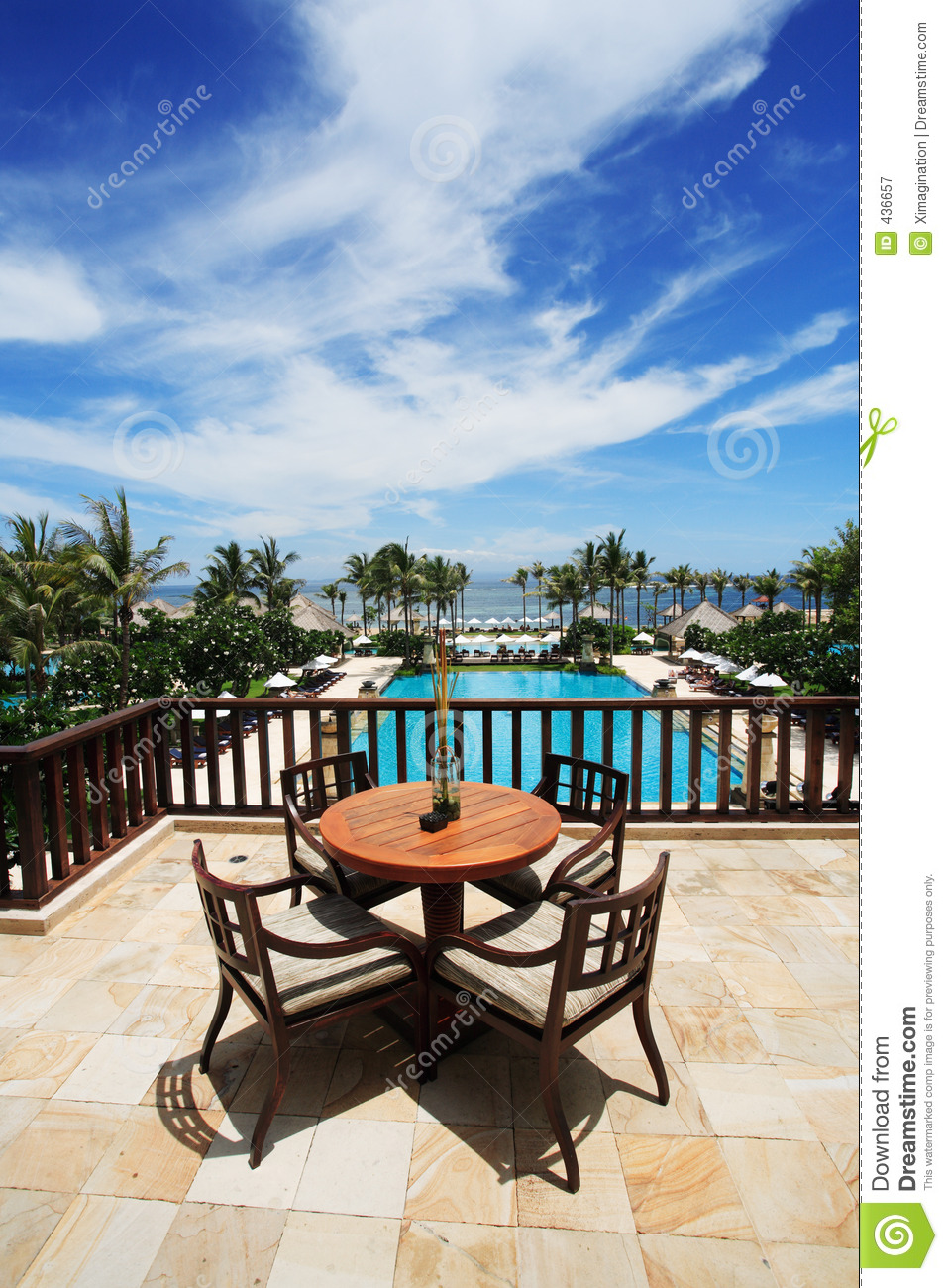 View from balcony royalty free stock photography image - Hotel with swimming pool on balcony ...