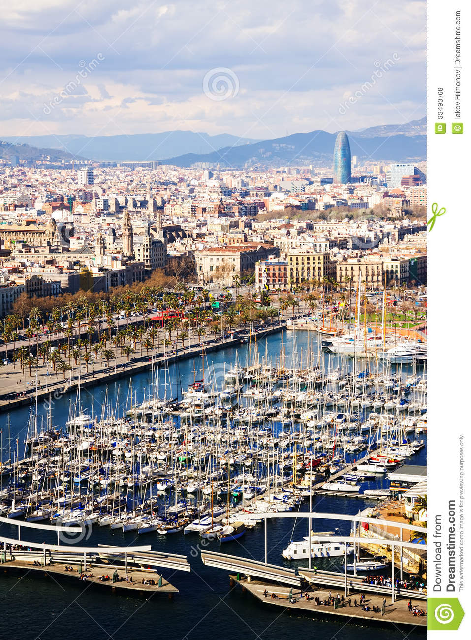 View of Barcelona from Port Vell side