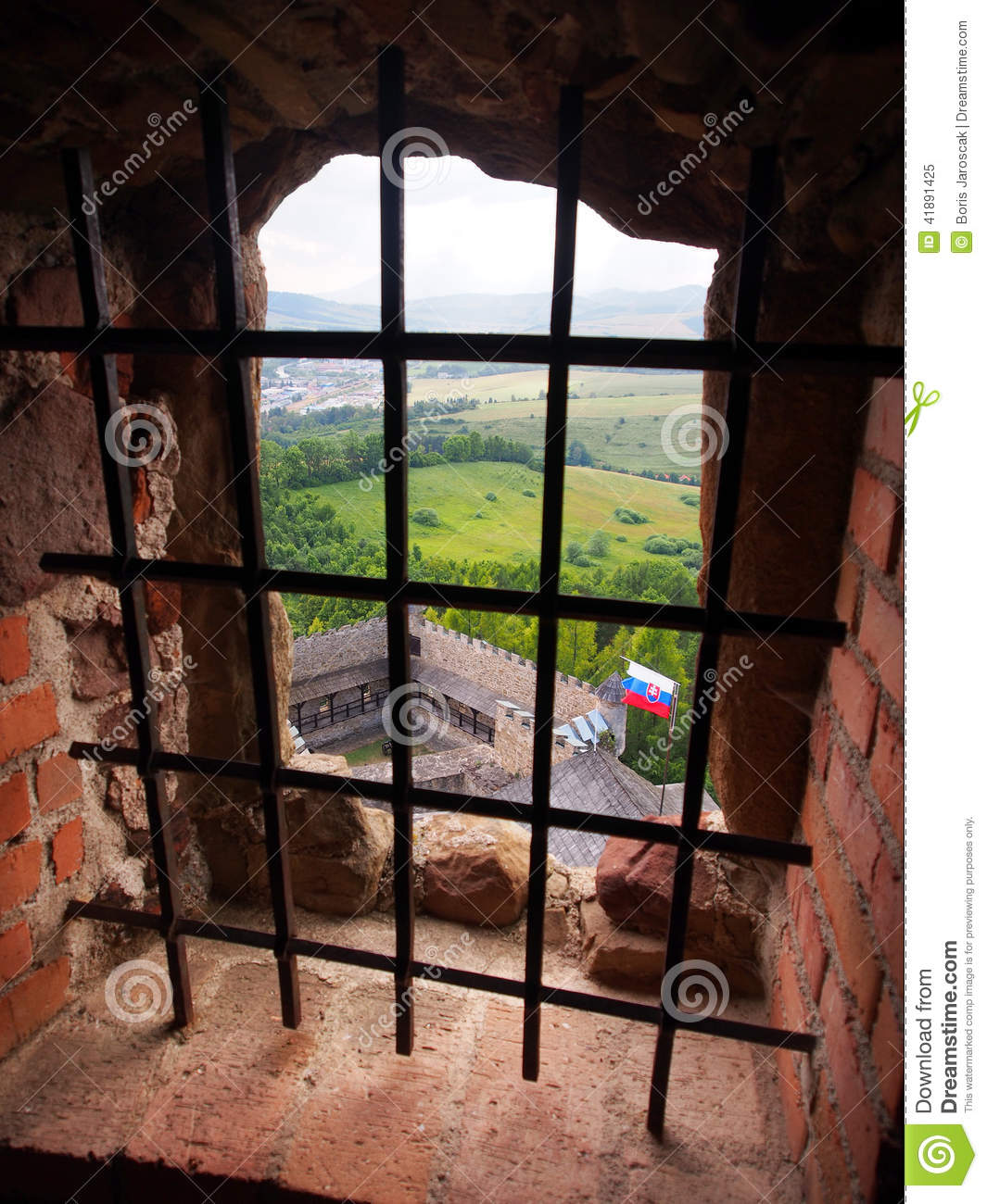 A view through a barred window, Lubovna castle