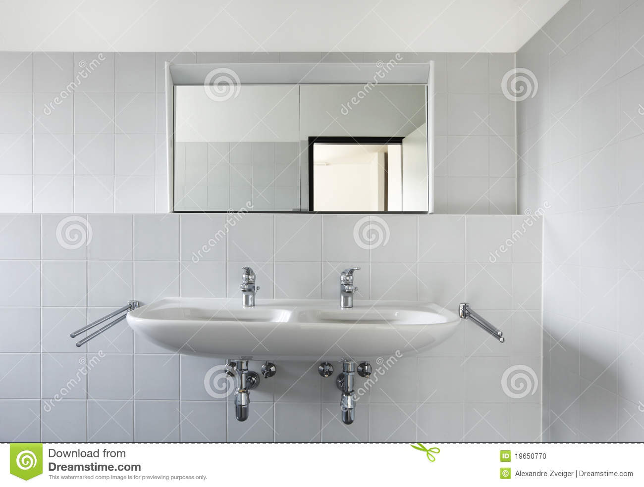View Of Bathroom Sink And Mirror Stock Photo